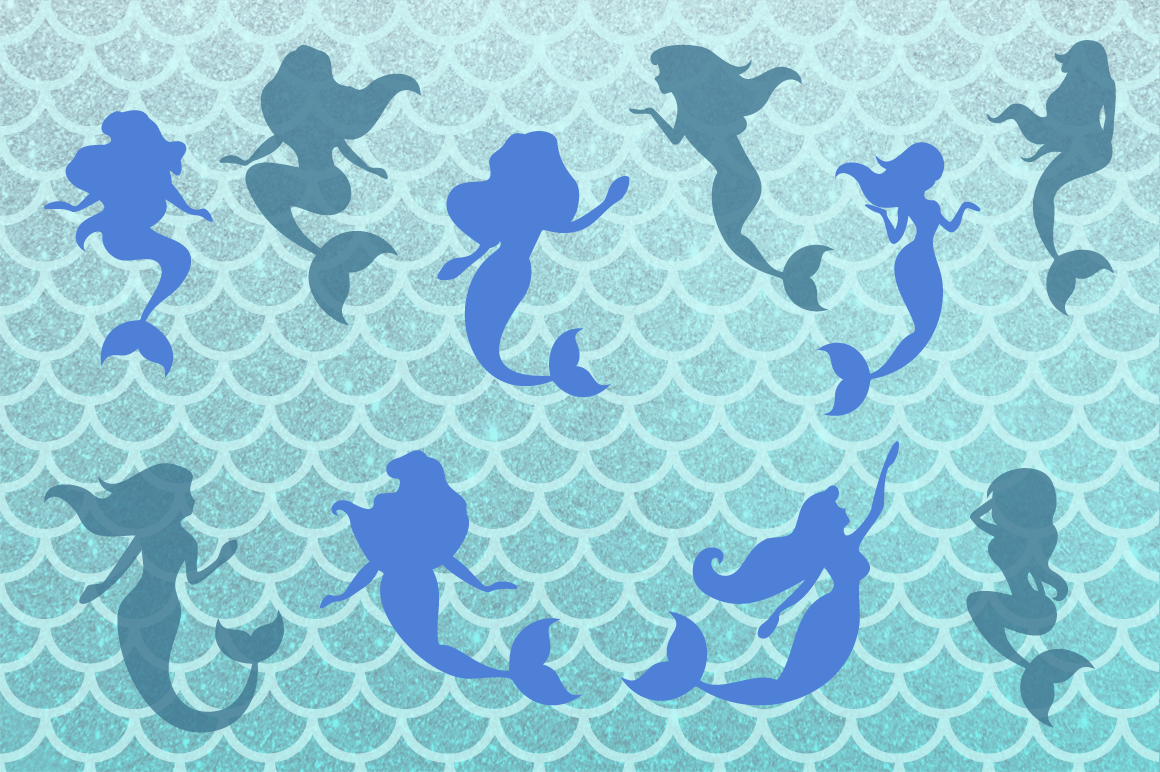 Mermaid Silhouettes | Mermaid Monograms SVG Cut Files example image 2