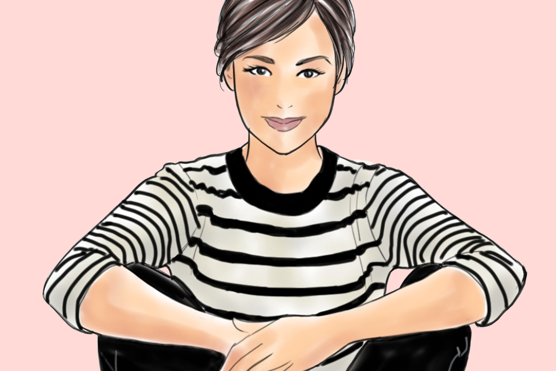 Fashion illustration - Girls in striped T - Light Skin example image 3