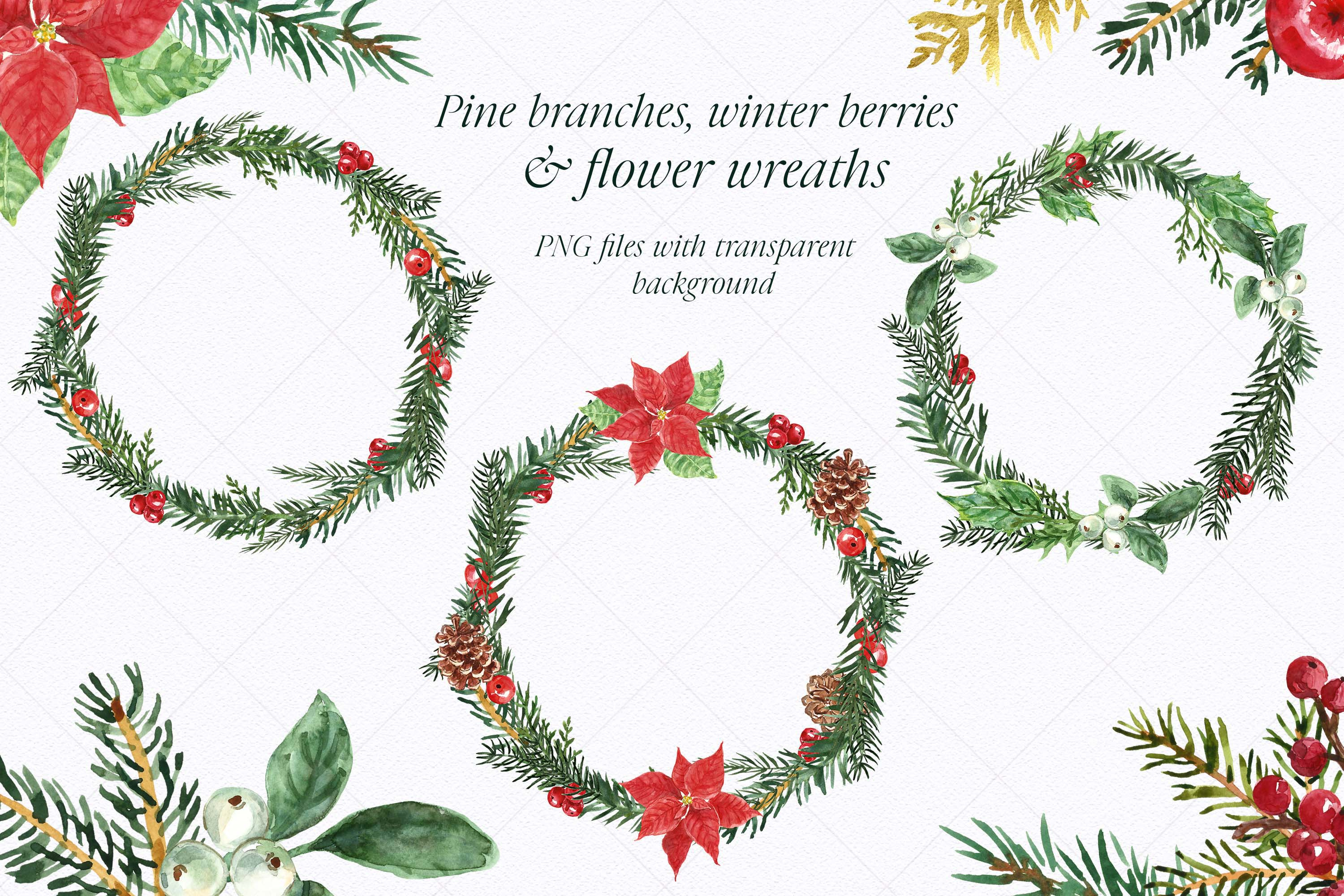 Watercolor Christmas Wreath Holiday Winter Borders Greenery example image 3