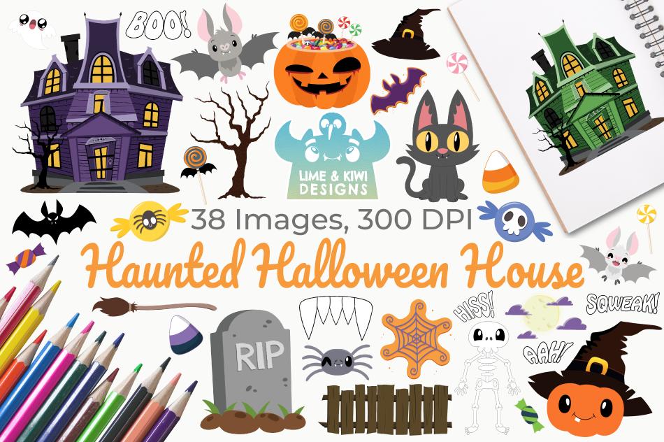 Haunted Halloween House Clipart, Instant Download Vector Art example image 1