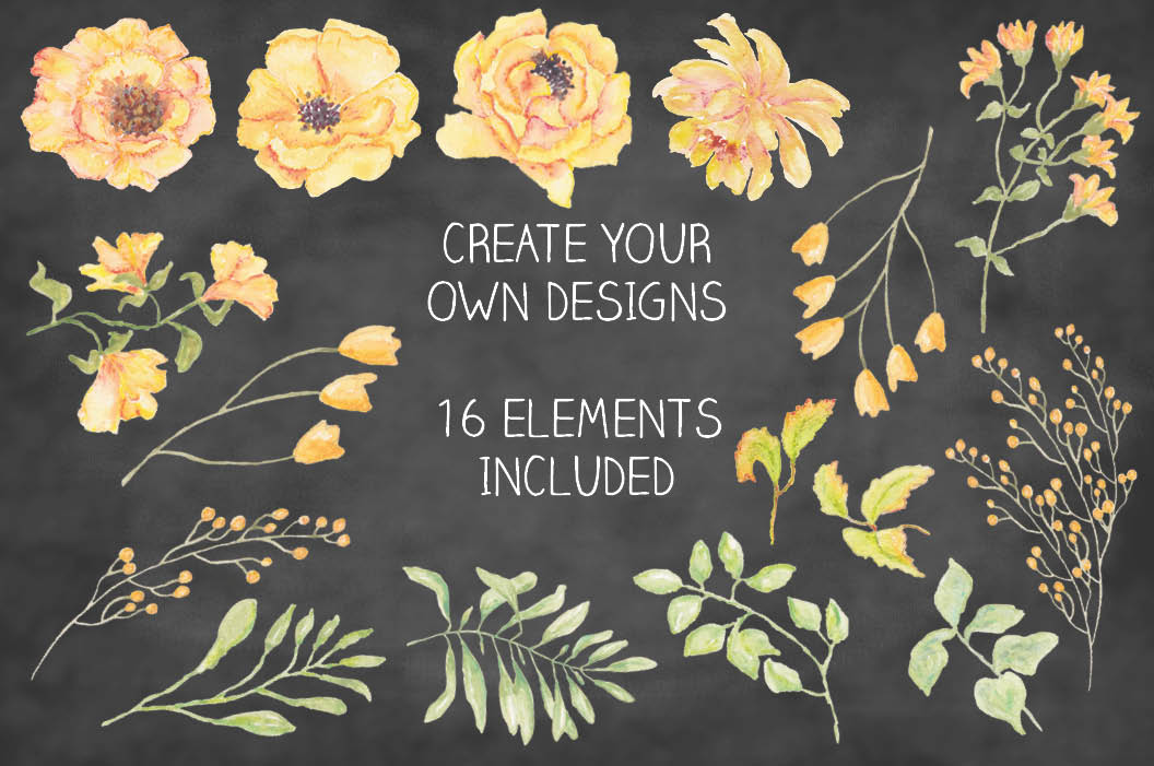 Watercolor clip art bundle: 'Buttercup Blooms' example image 7