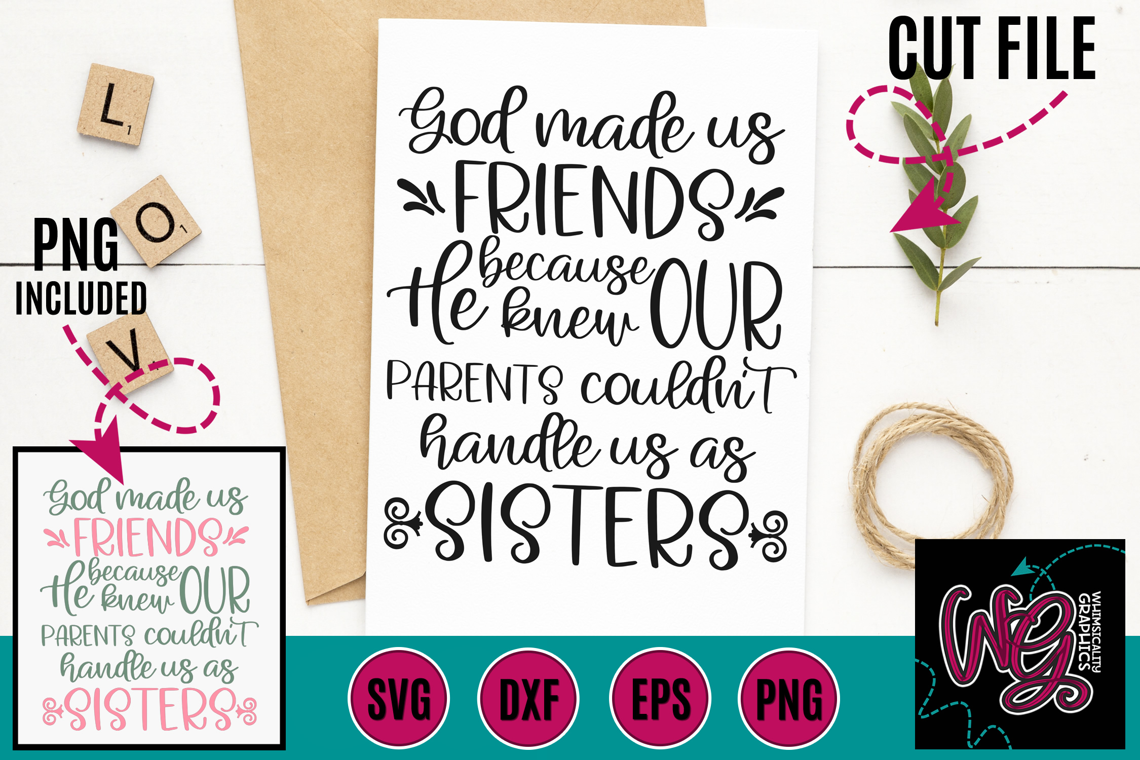 God Made Us Friends SVG DXF PNG EPS example image 1