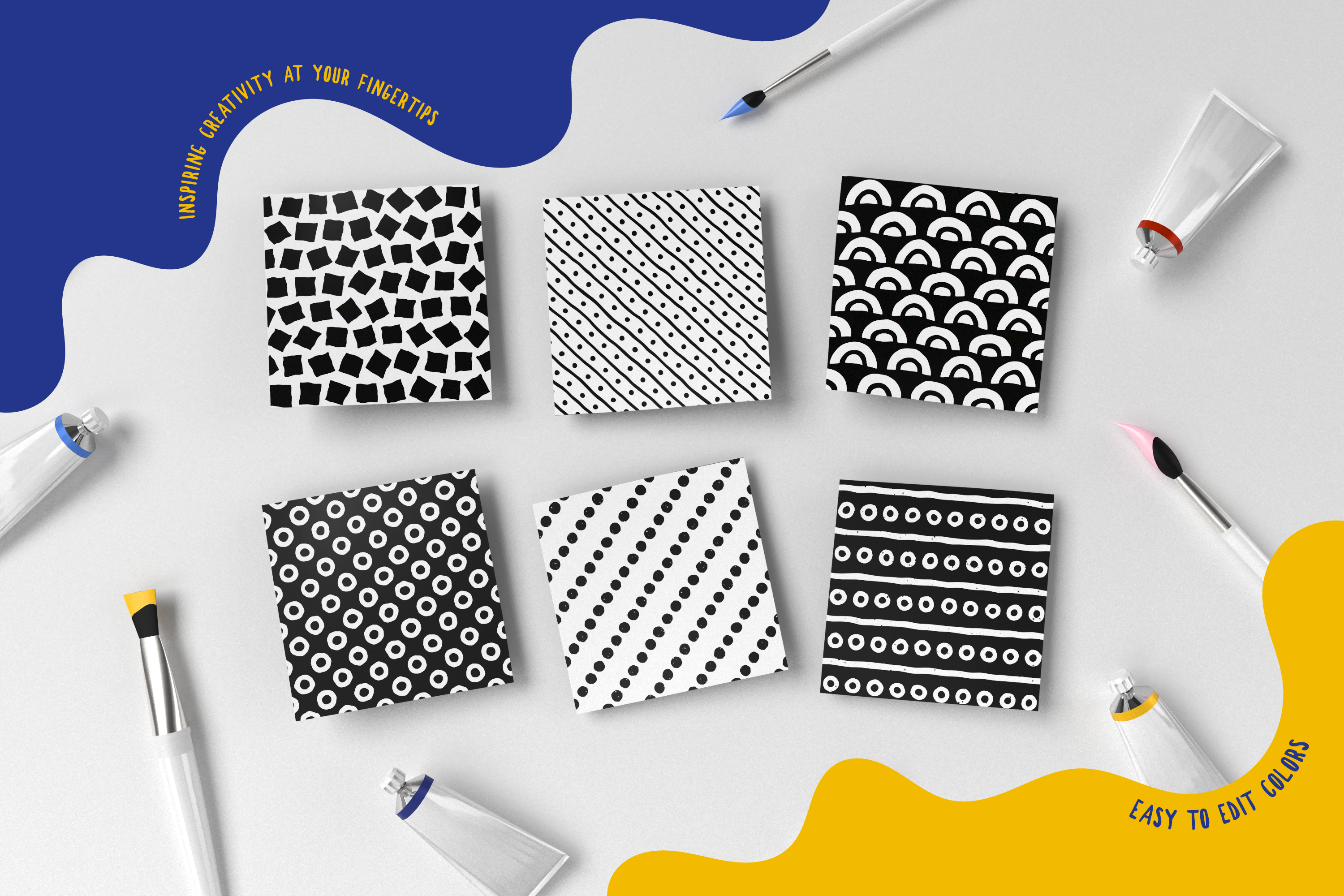 100 Hand-drawn seamless patterns collection example image 12