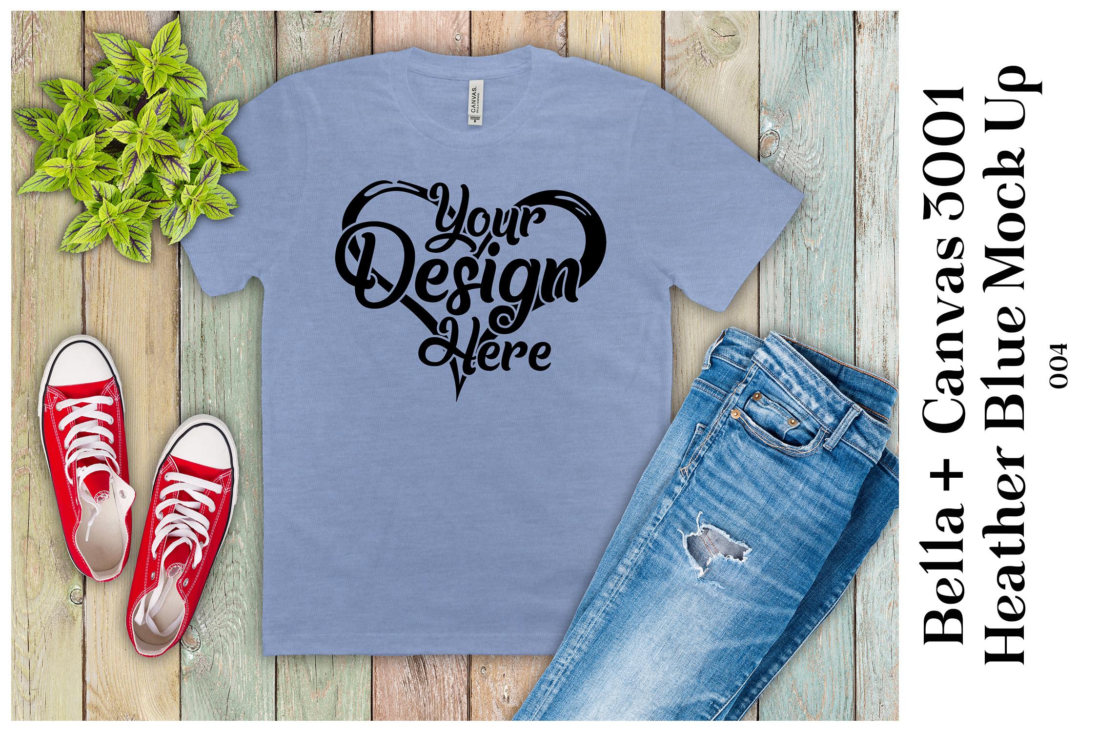 Mens T-Shirt Mockup Heather Blue Bella Canvas 3001 Mock Up example image 1