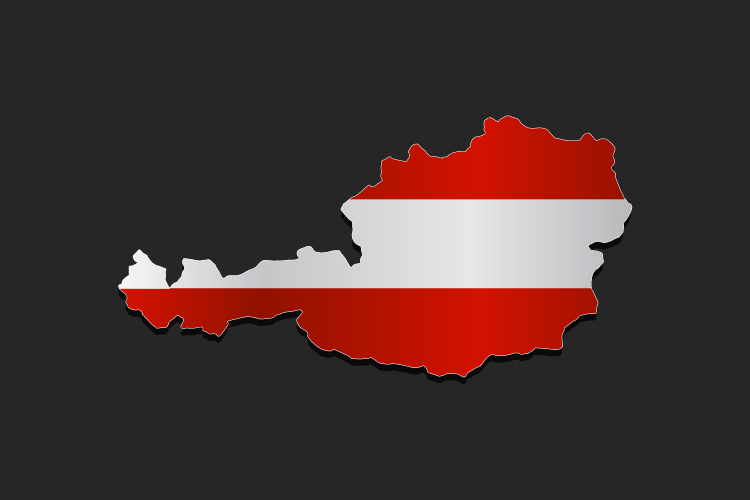Austria map with flag example image 1