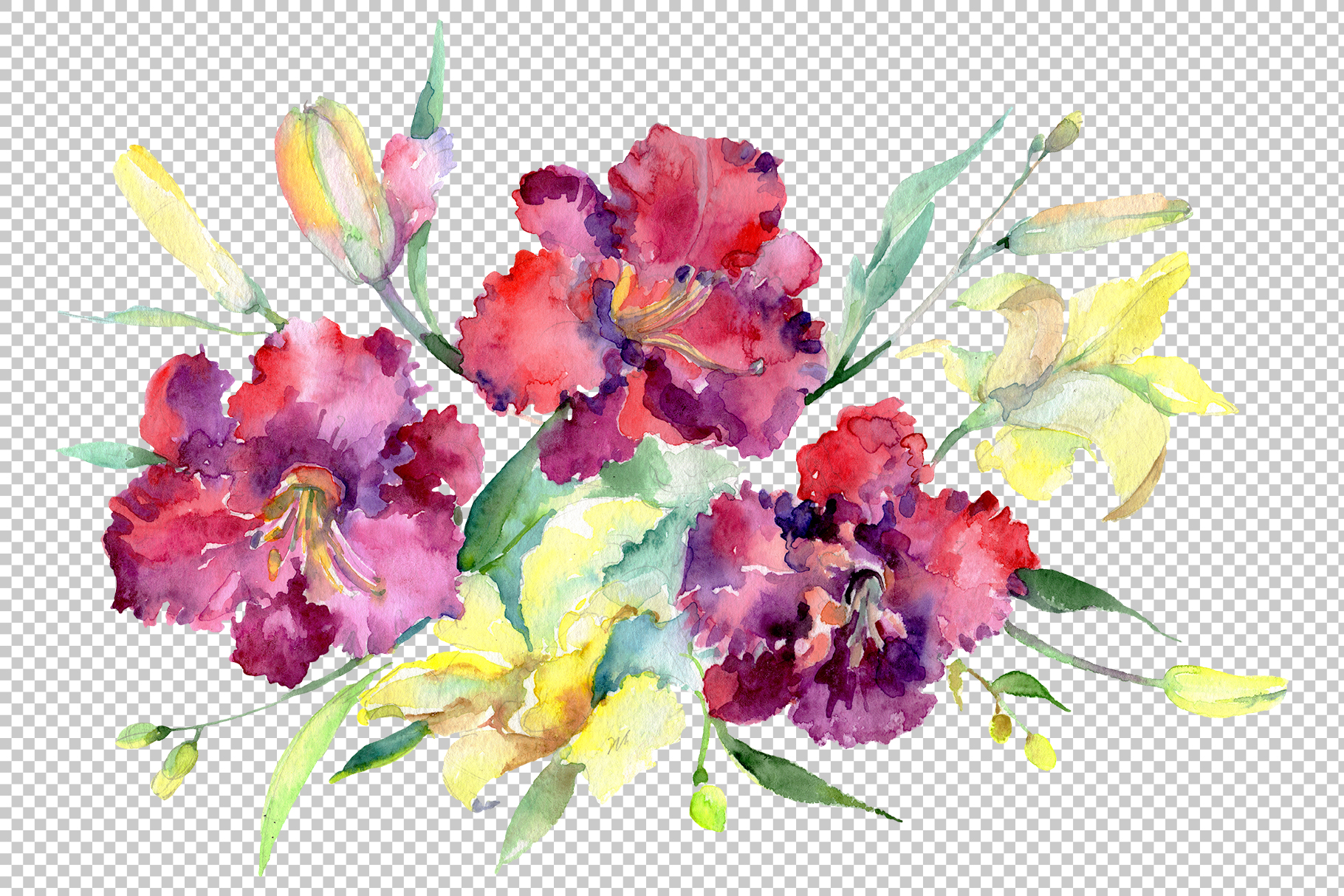 Bouquet Happy Watercolor png example image 1