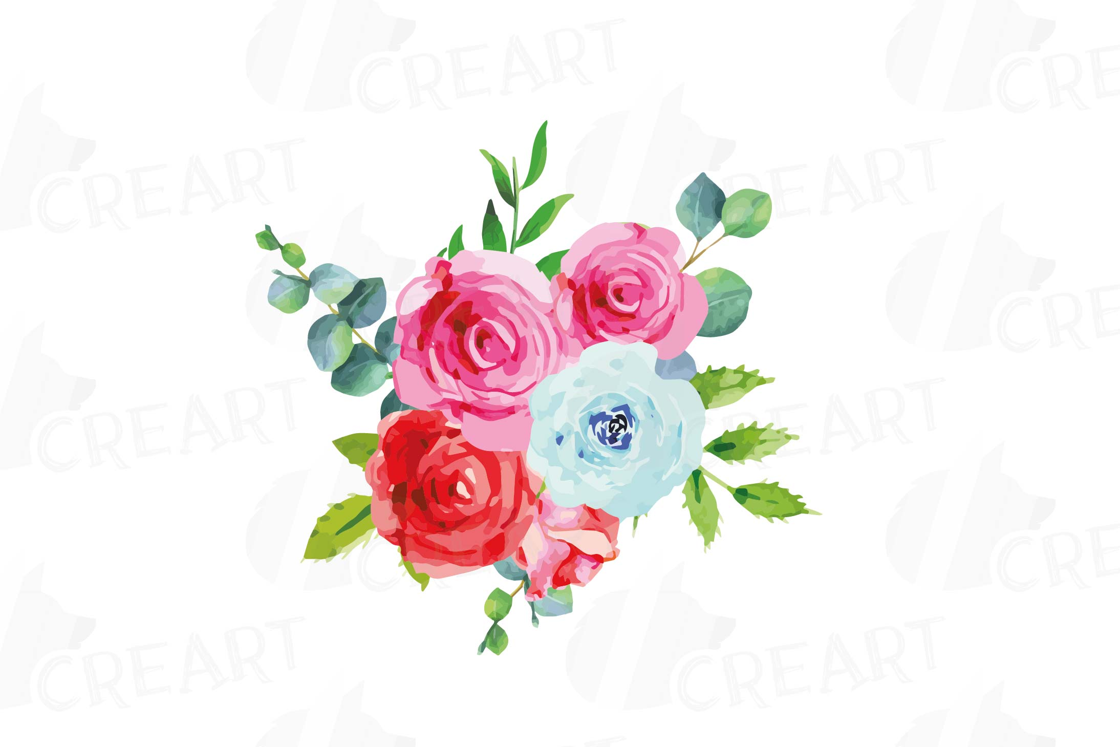 Boho pink and blue watercolor wedding bouquets, floral png example image 8