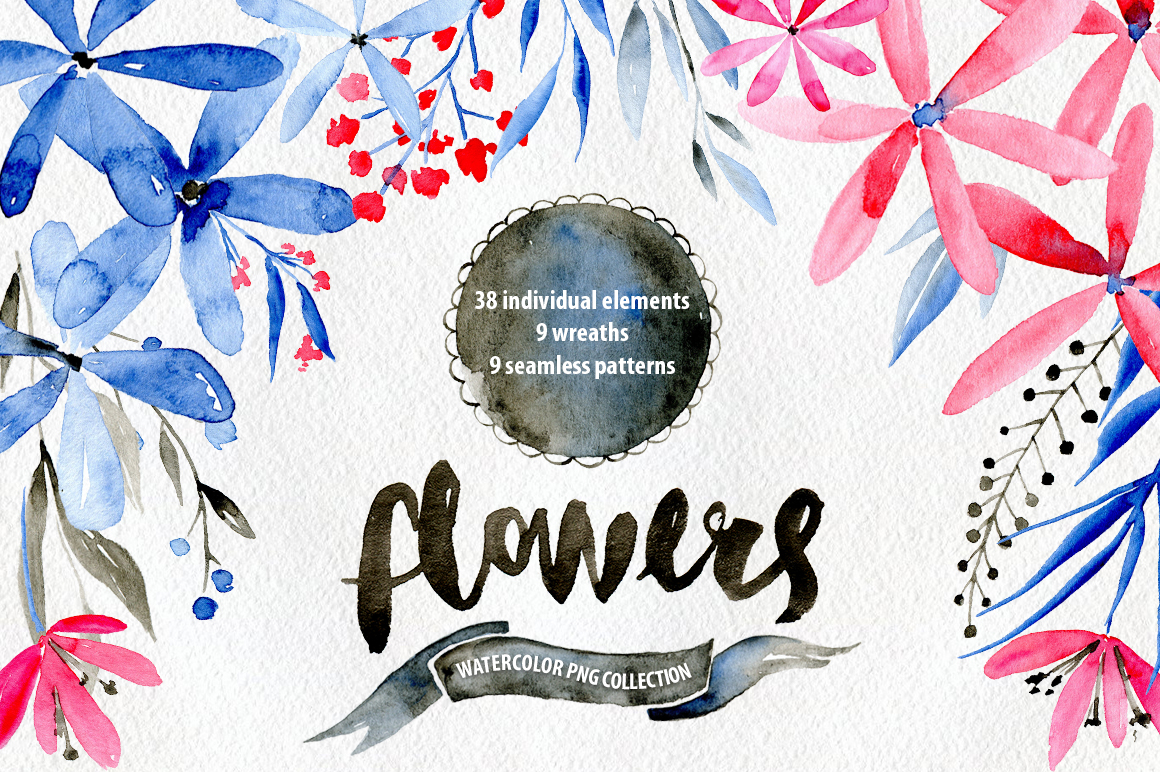 Watercolor flowers: blue, red, brown example image 1