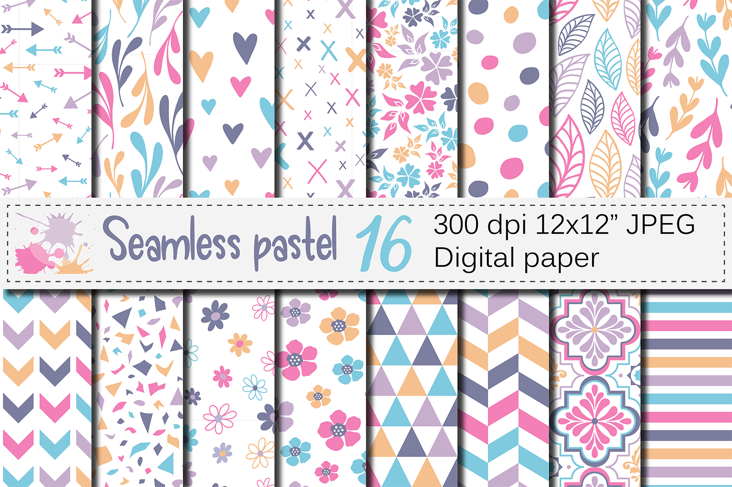 Seamless Pastel Digital Paper Pack Pastel Flowers And Leaves
