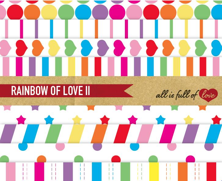 Rainbow Digital Paper Geometric Background Patterns  example image 1