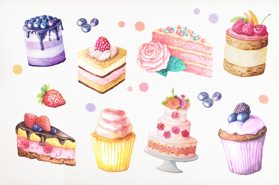 Watercolor Cakes Set example image 2