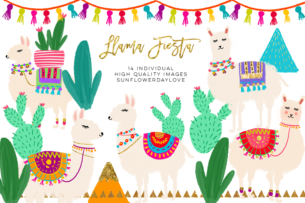 Cactus and Llama Watercolor Clipart set, Cute Llama Clipart example image 1