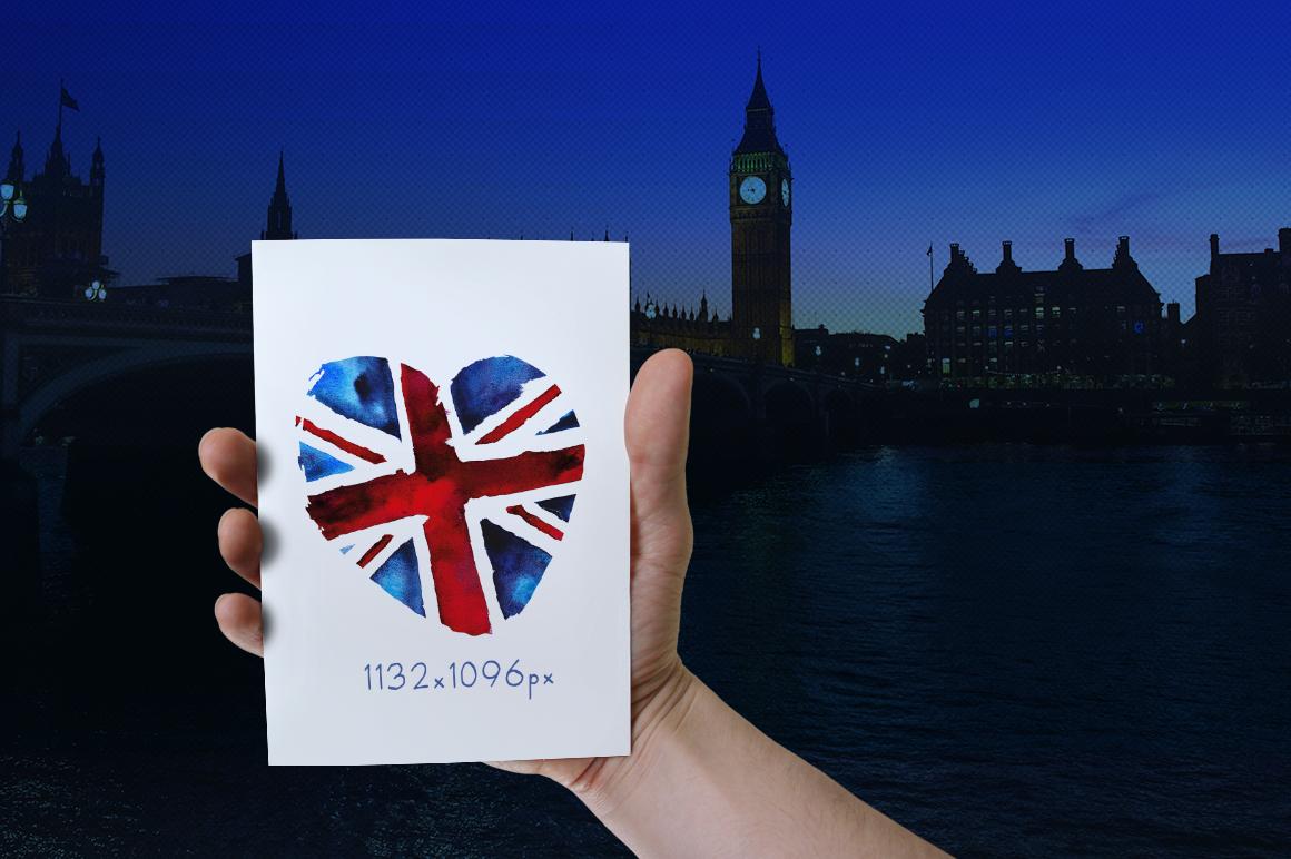 Old British. Watercolor britain flag. United Kingdom. example image 6
