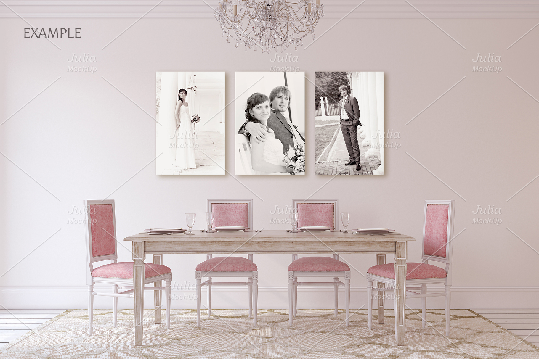 Pink Interiors. Frames&Canvases Mockup. example image 3