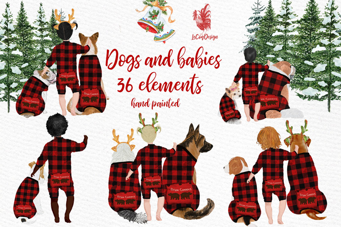 DOGS CLIPART, Baby clipart, Christmas clipart, Buffalo Plaid example image 1