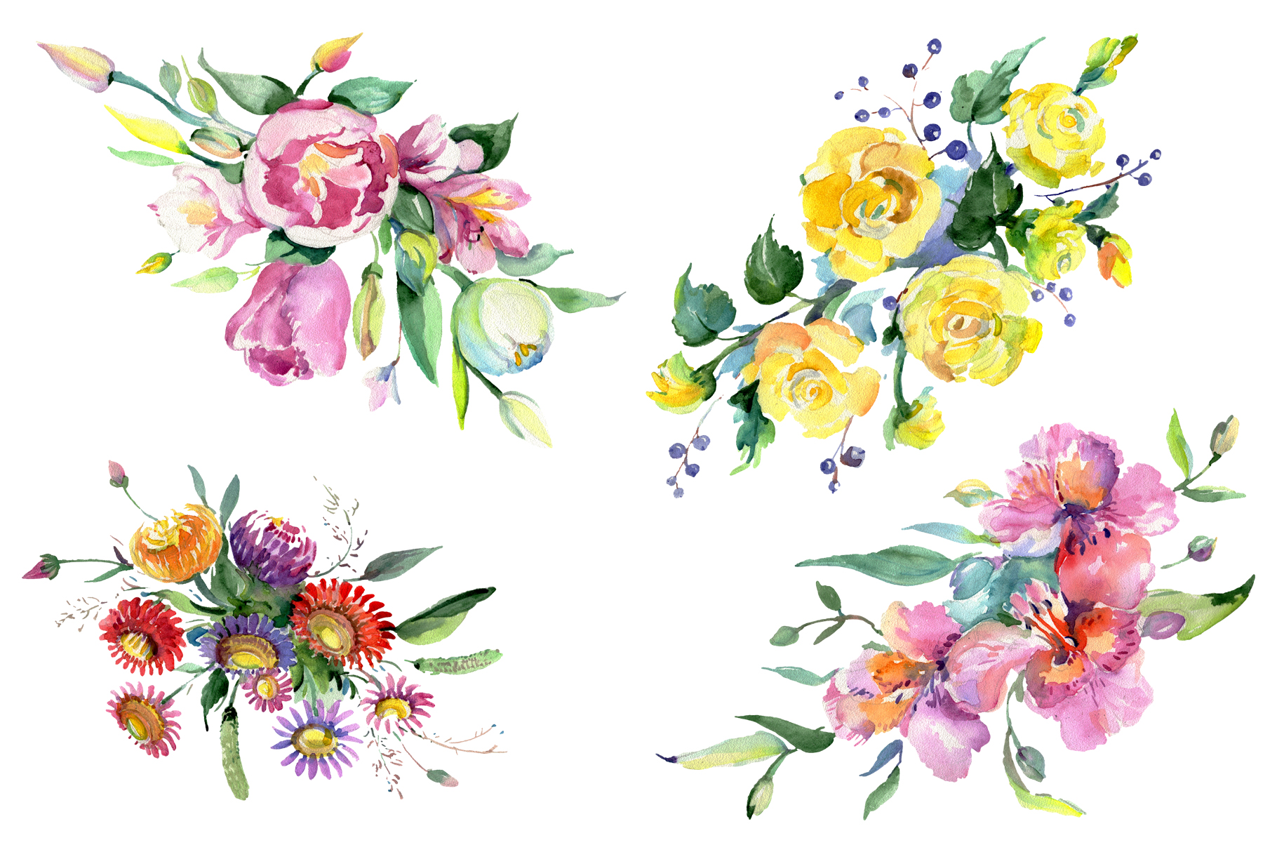 Bouquet of flowers matures feelings watercolor png example image 1