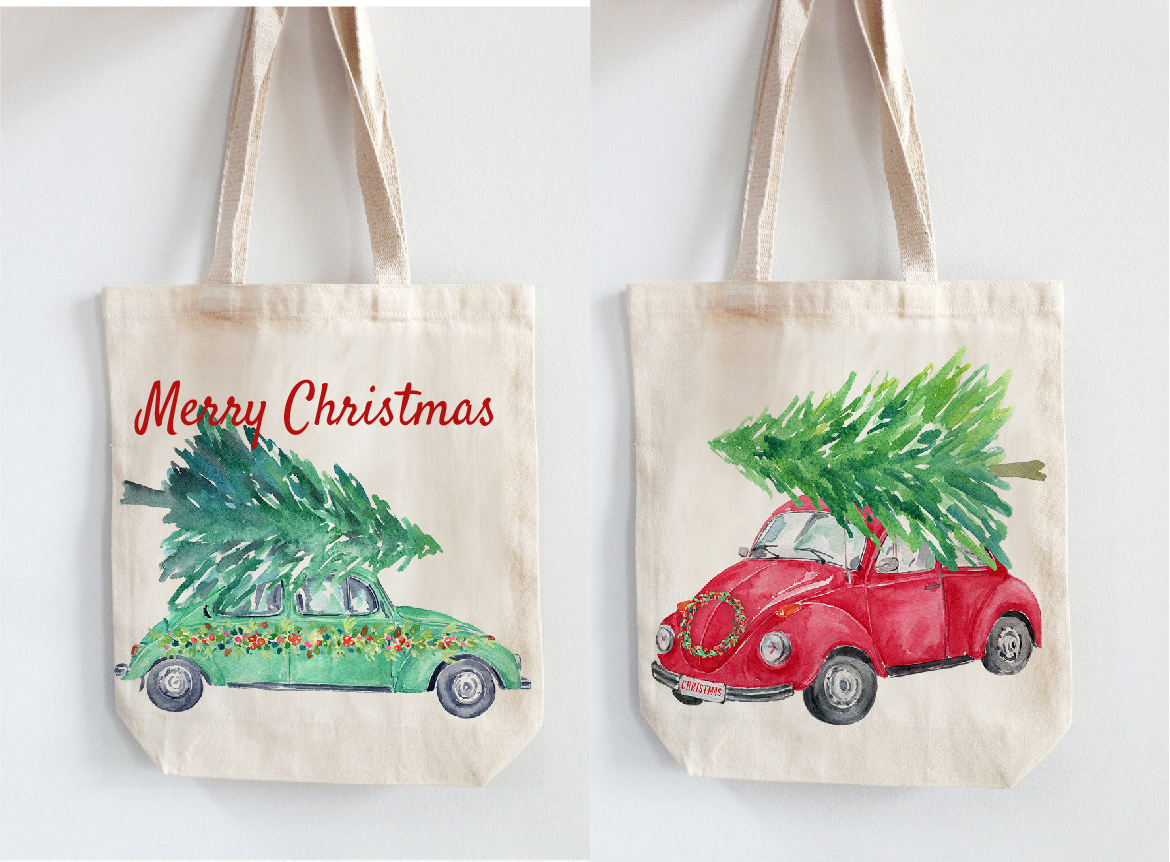 Watercolor Christmas Cars example image 4