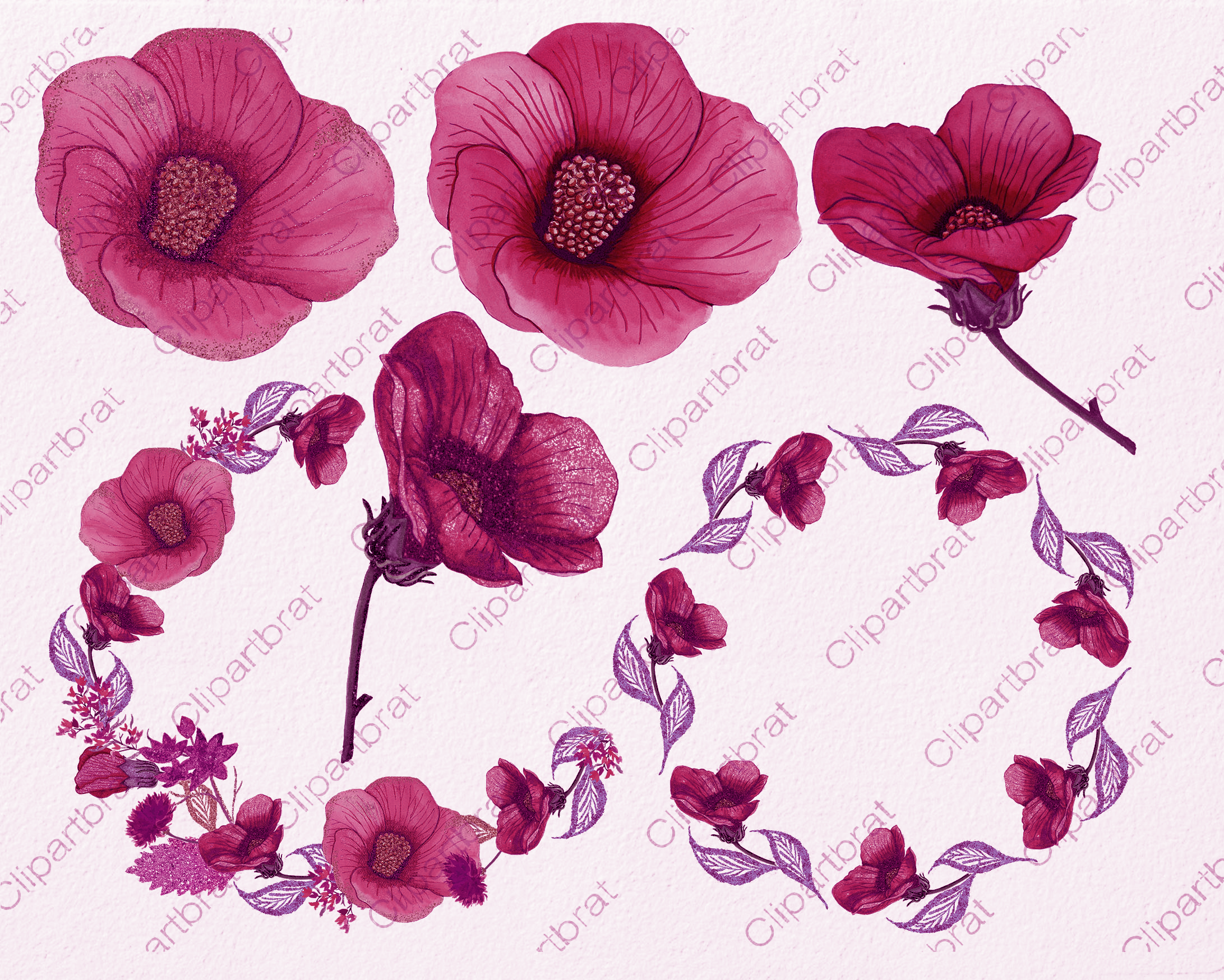 Tropical Floral Clipart Commercial Use Watercolor Hibiscus Hawaiian