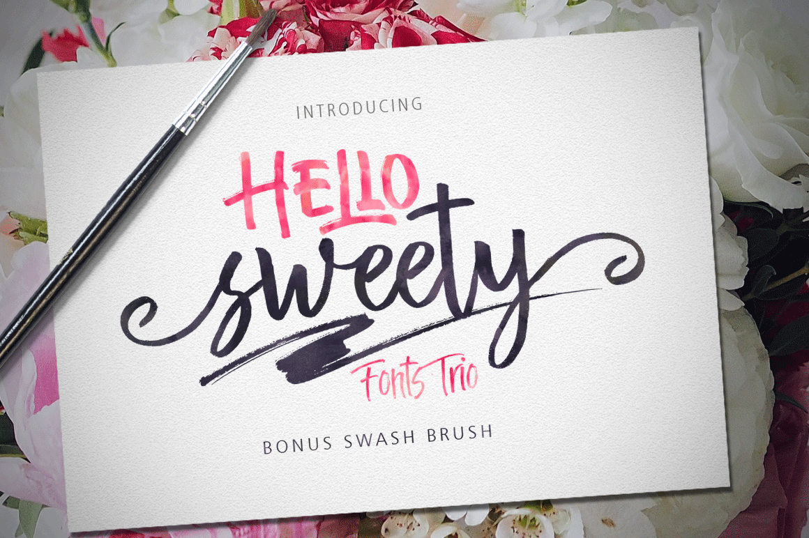 Hello Sweety (Fonts Trio+Swash) example image 1