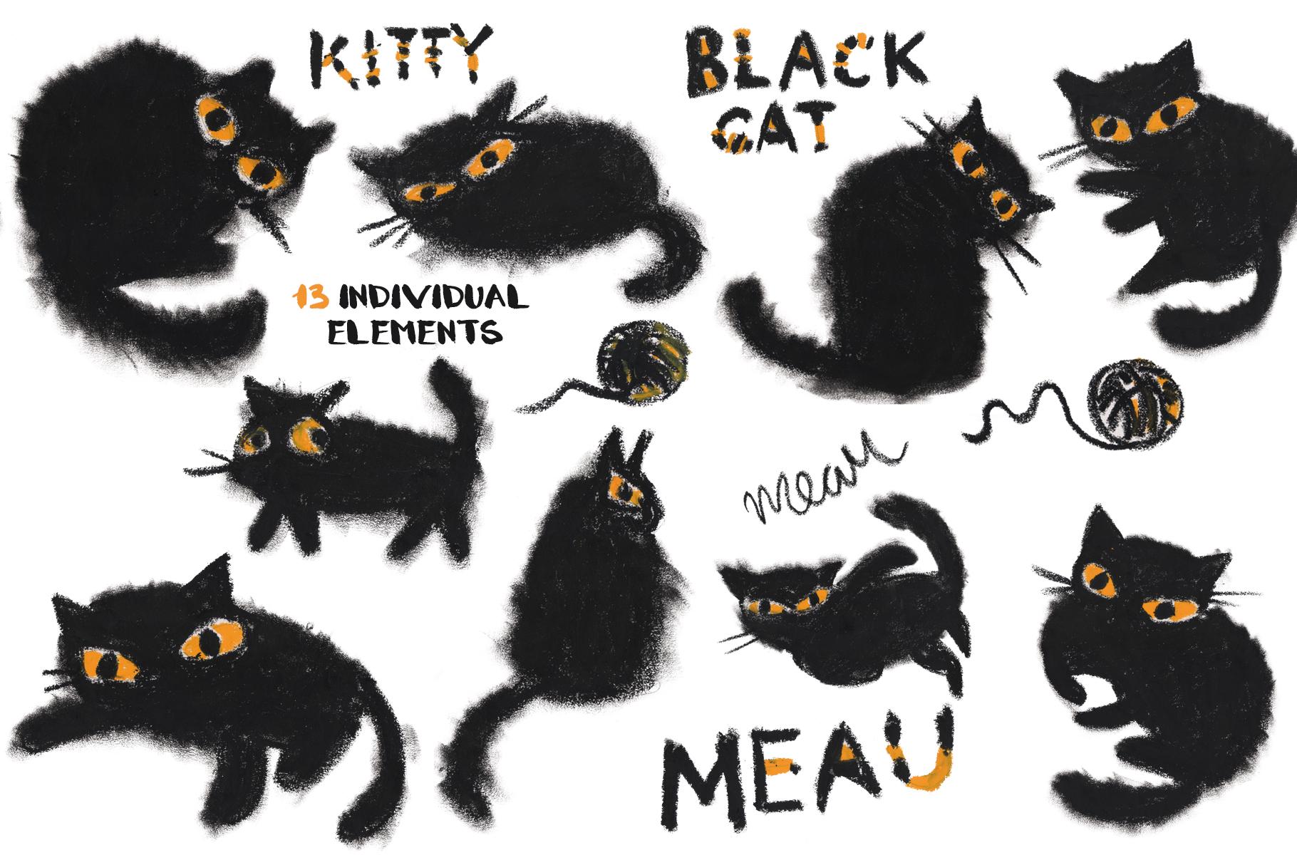 Black cat hand-drawn pastel set example image 3