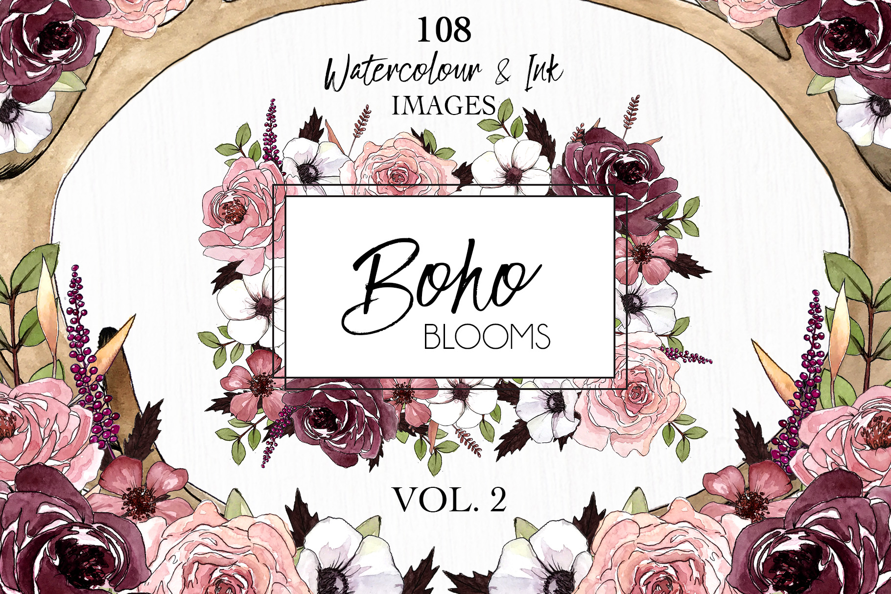 Watercolor ClipArt Boho Blooms Vol.2 example image 1