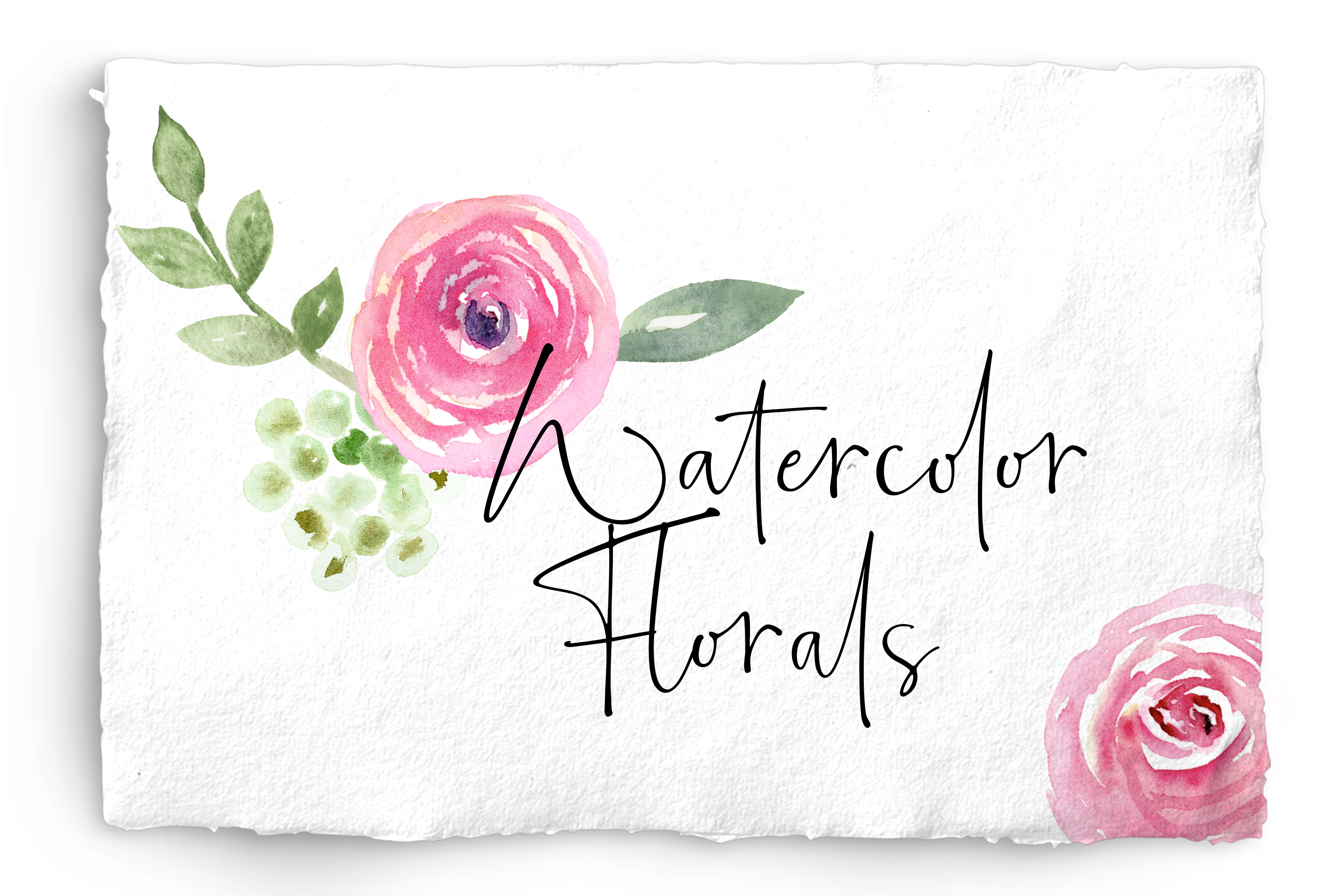 Watercolor Floral Bundle Pink, Purple Blue Flowers & Yellow example image 1