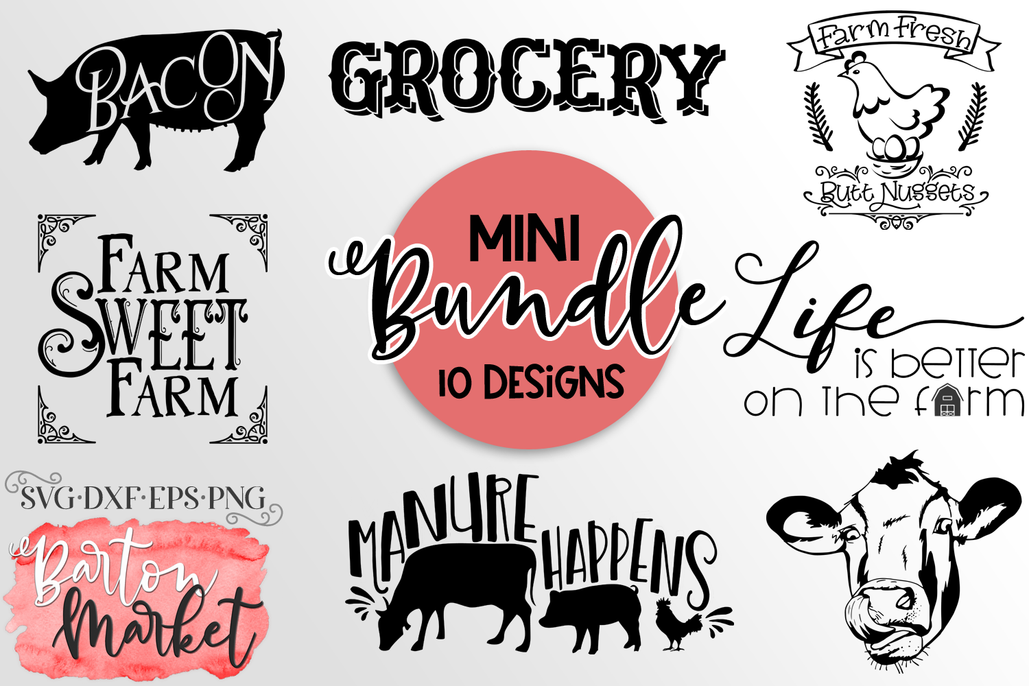 BUNDLE 10 Farm Craft Designs SVG DXF EPS PNG example image 1