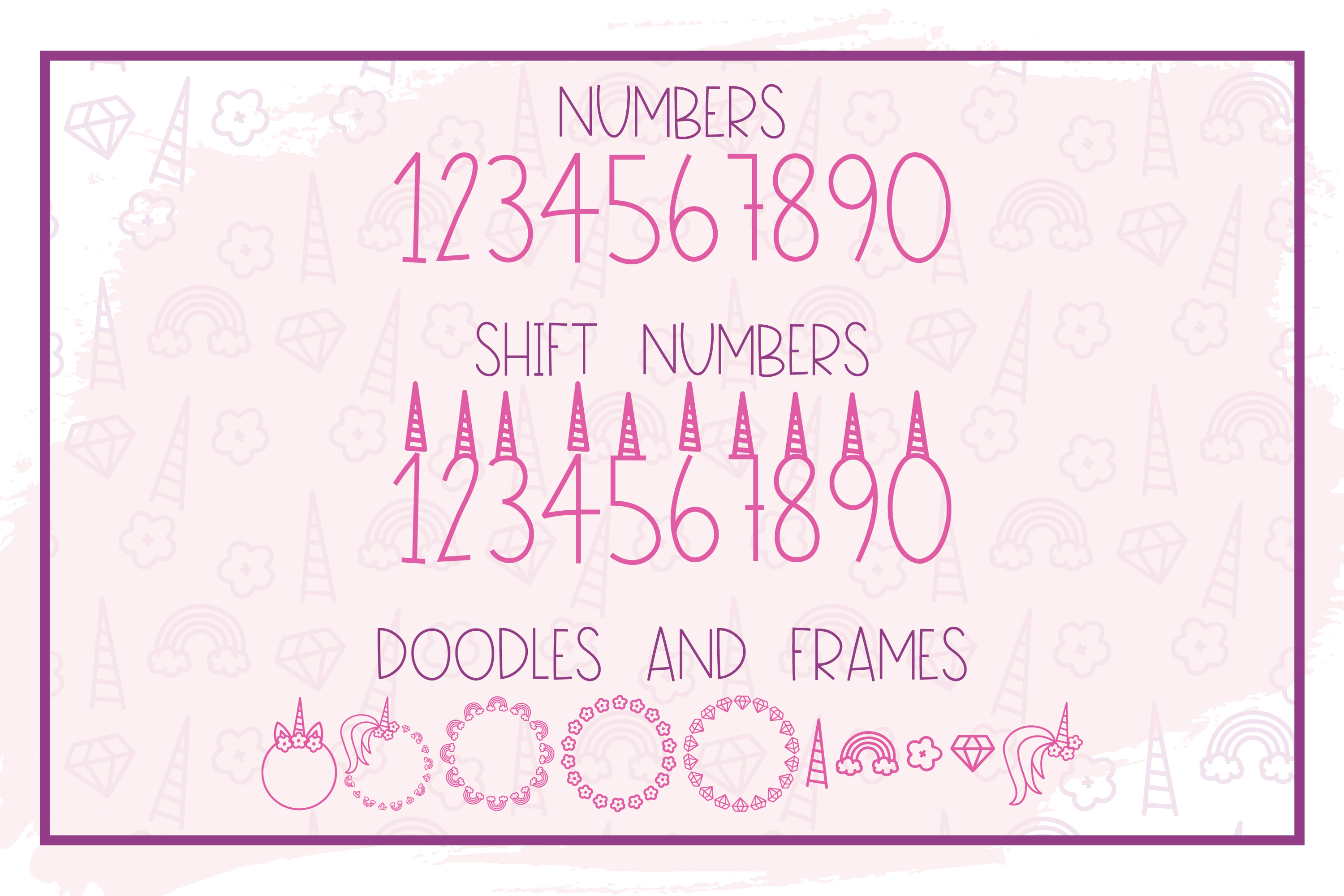 Pink Unicorn - A Magical Monogram Font example image 3