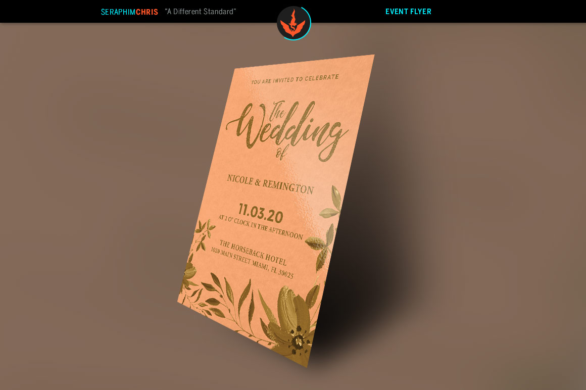 Gold and Peach Wedding Invite Template example image 2