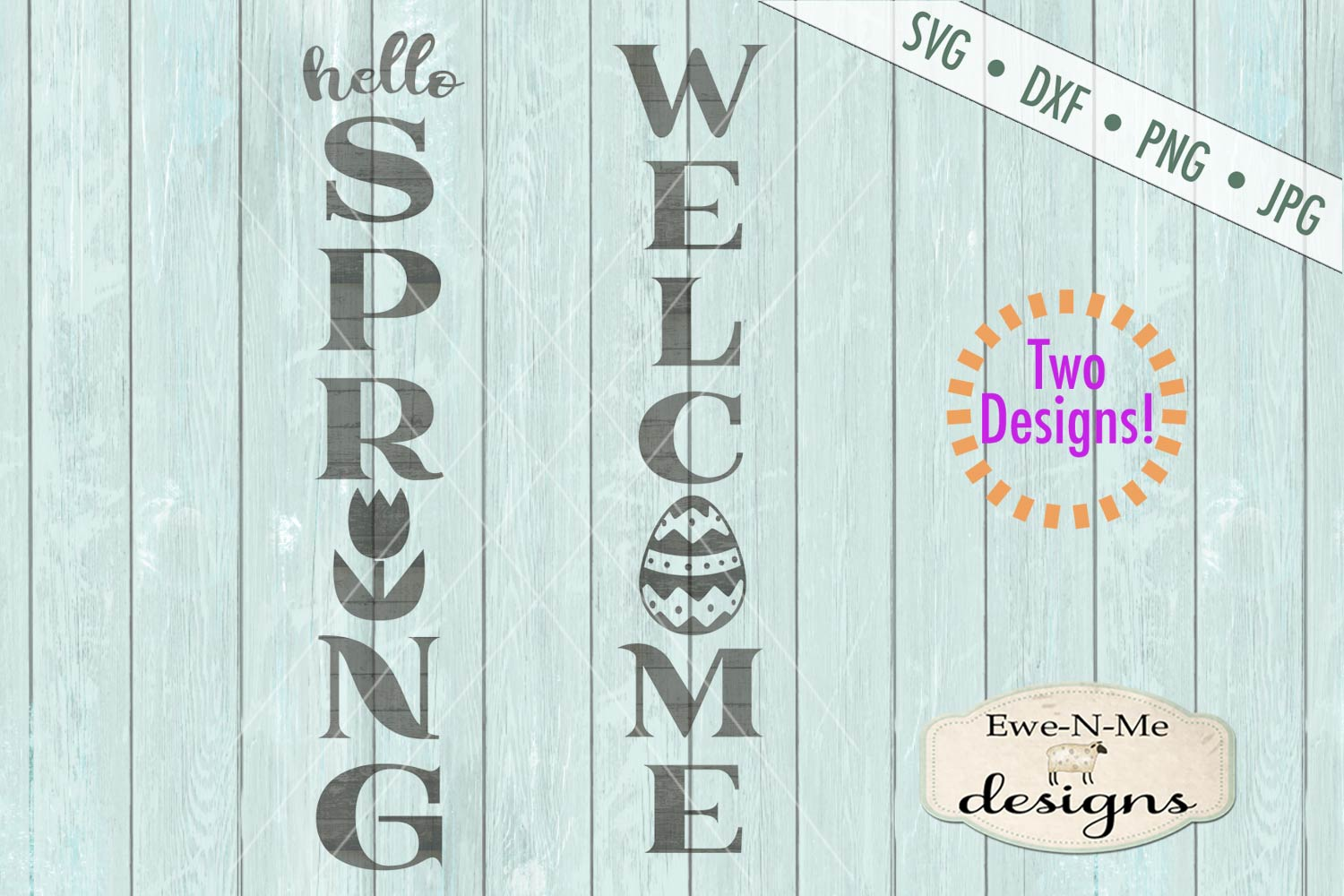Hello Spring Welcome Easter Porch Sign SVG DXF Cut File example image 2