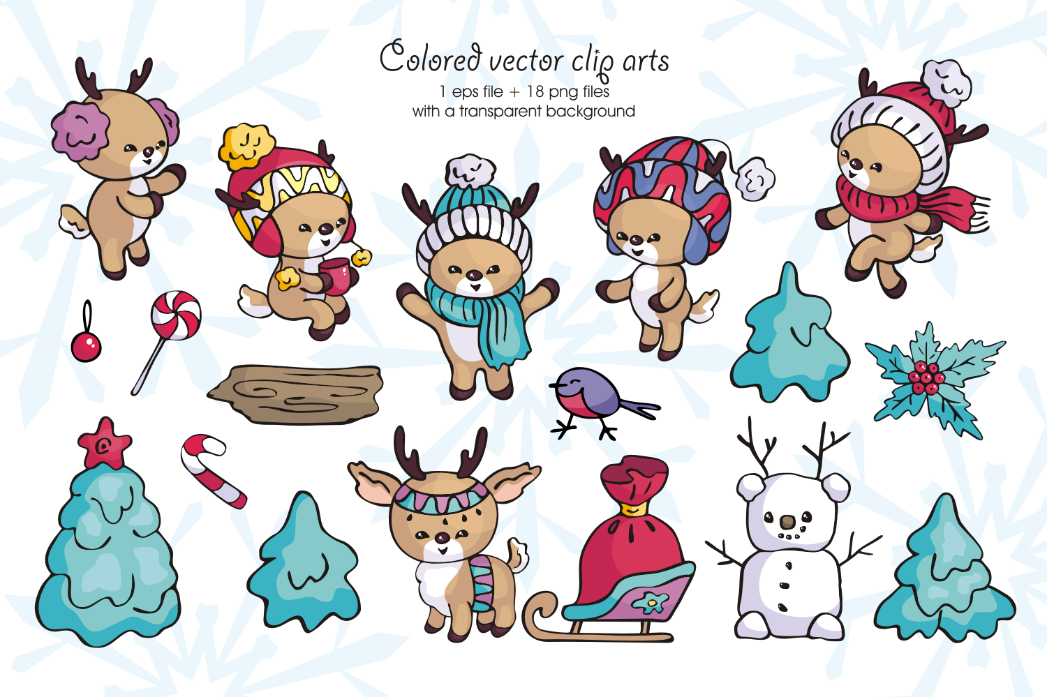 Little fawns. Christmas doodles and seamless patterns example image 2