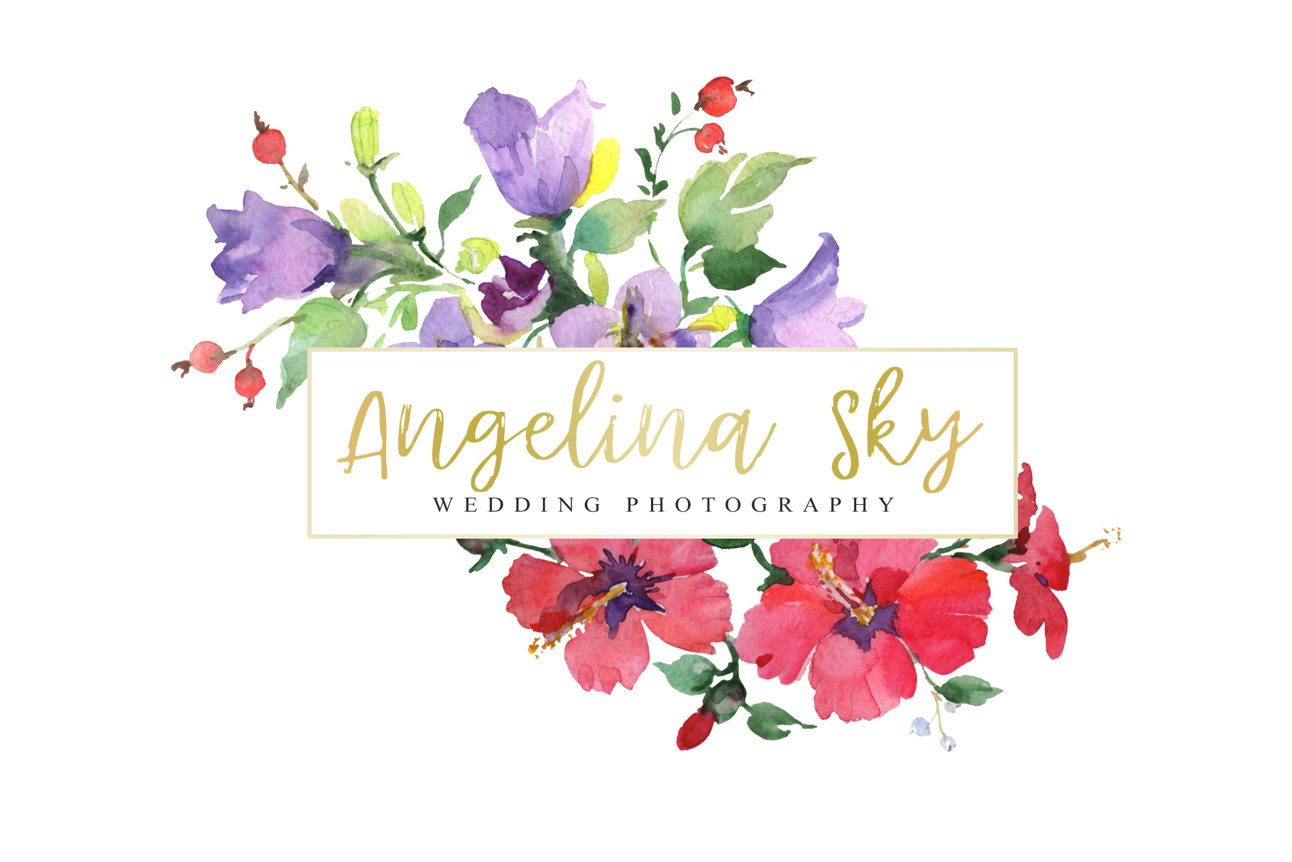 LOGO with red hibiscus and bluebells Watercolor png example image 3