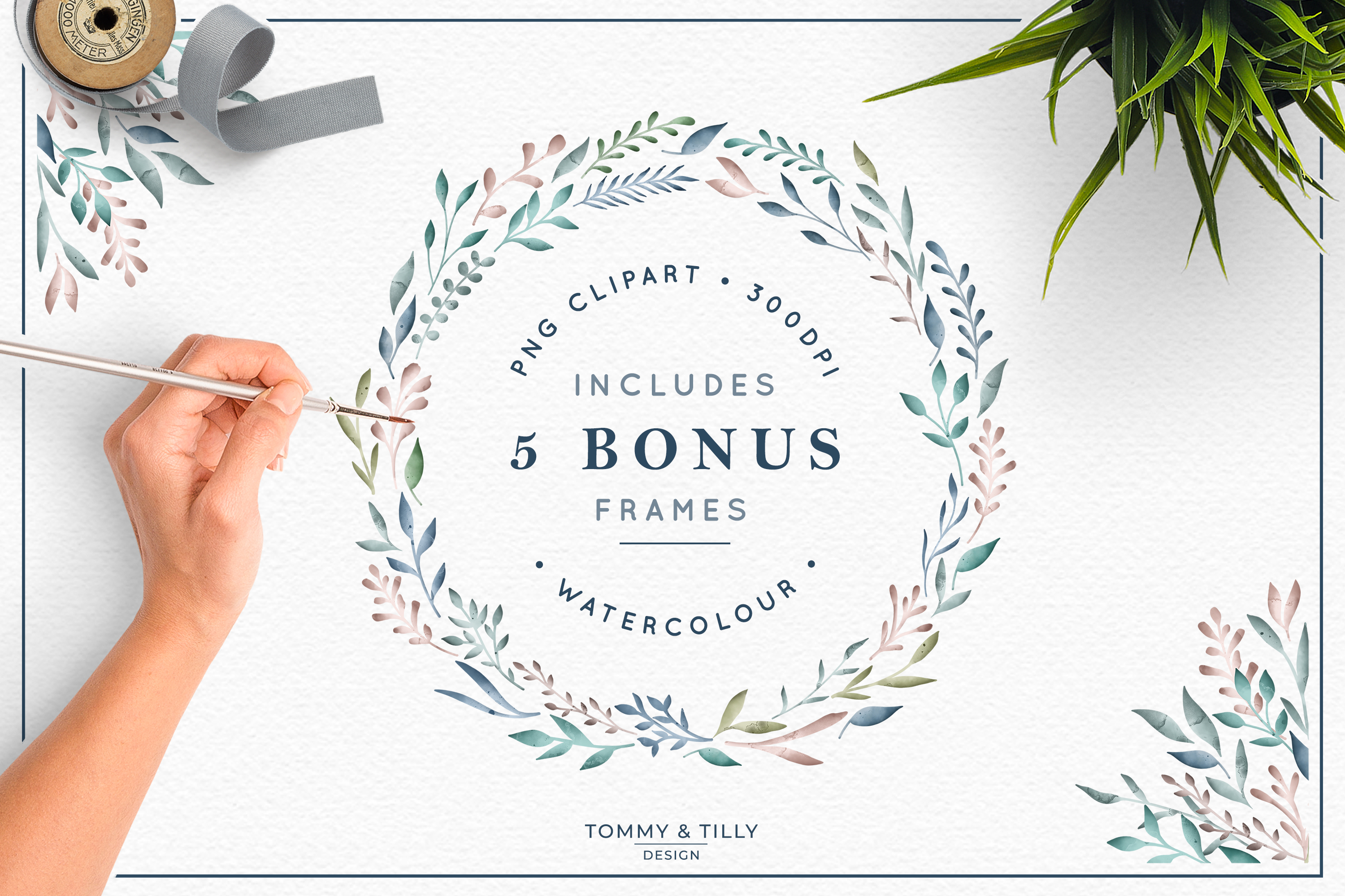 The Foliage Bundle Watercolour - Wedding Flower Clipart PNG example image 4