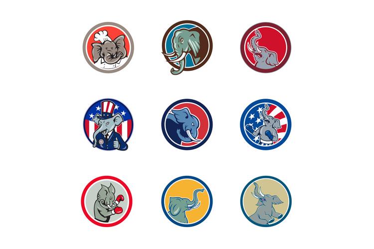 Elephant Head Mascot Circle example image 1