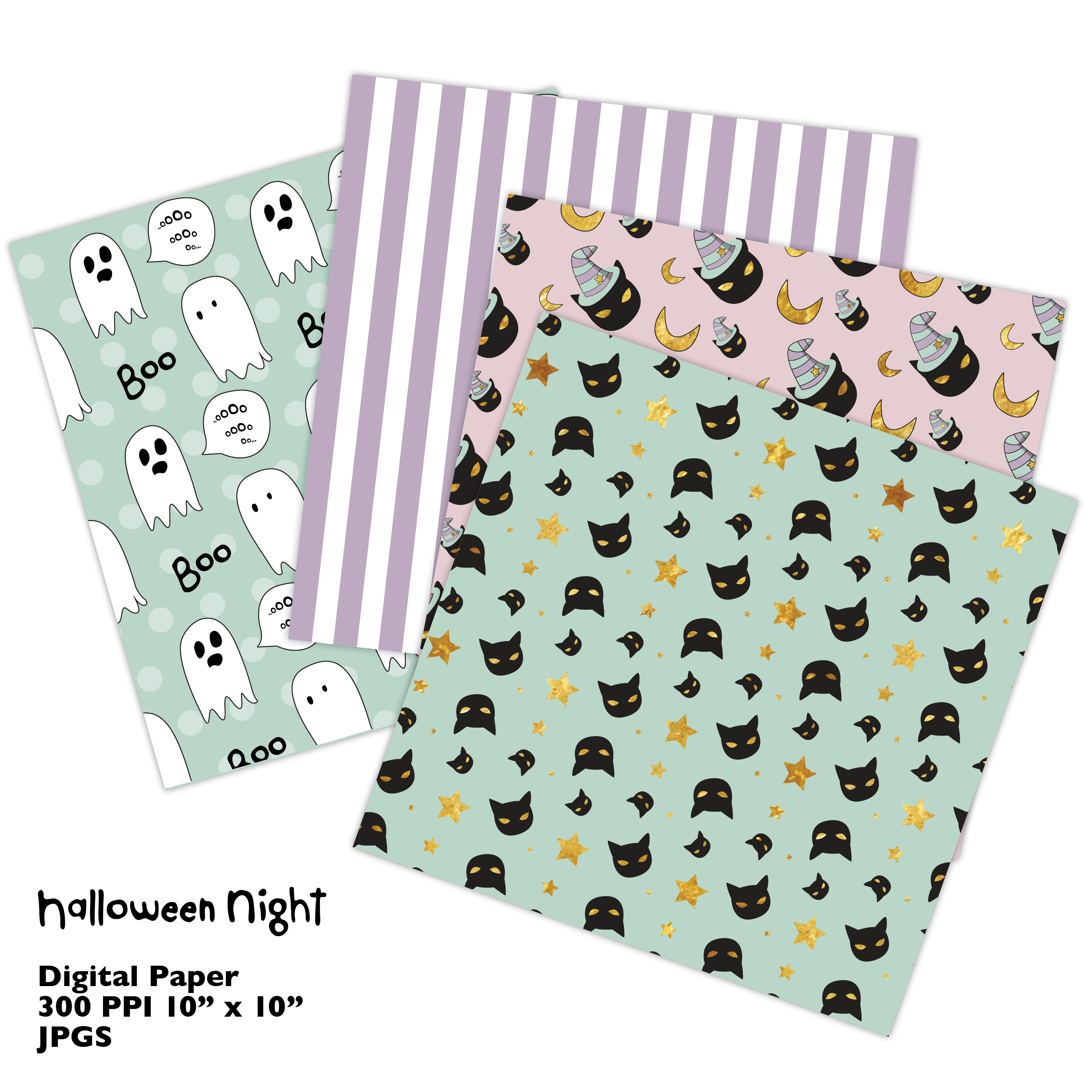 Hand Drawn Halloween Digital Paper in Pastel Colors example image 5