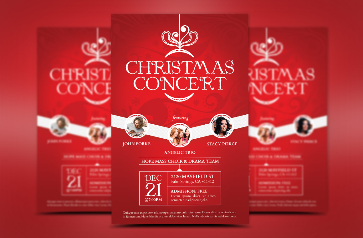 Red Christmas Concert Flyer Template example image 1