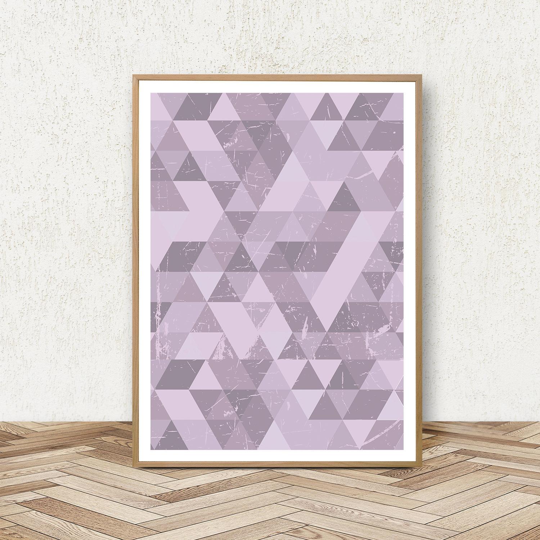 Purple Wall Art Prints, Geometric Print Set, Triangle Poster example image 3