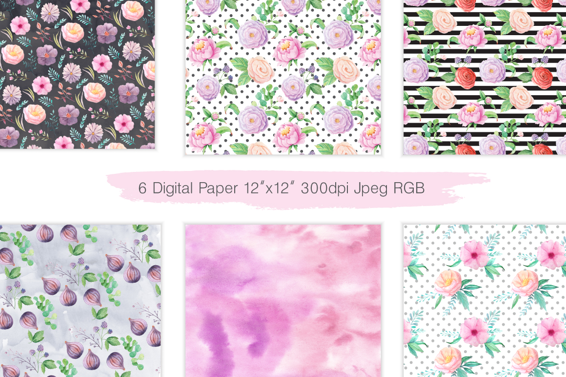 Summer Floral Seamless Patterns example image 5