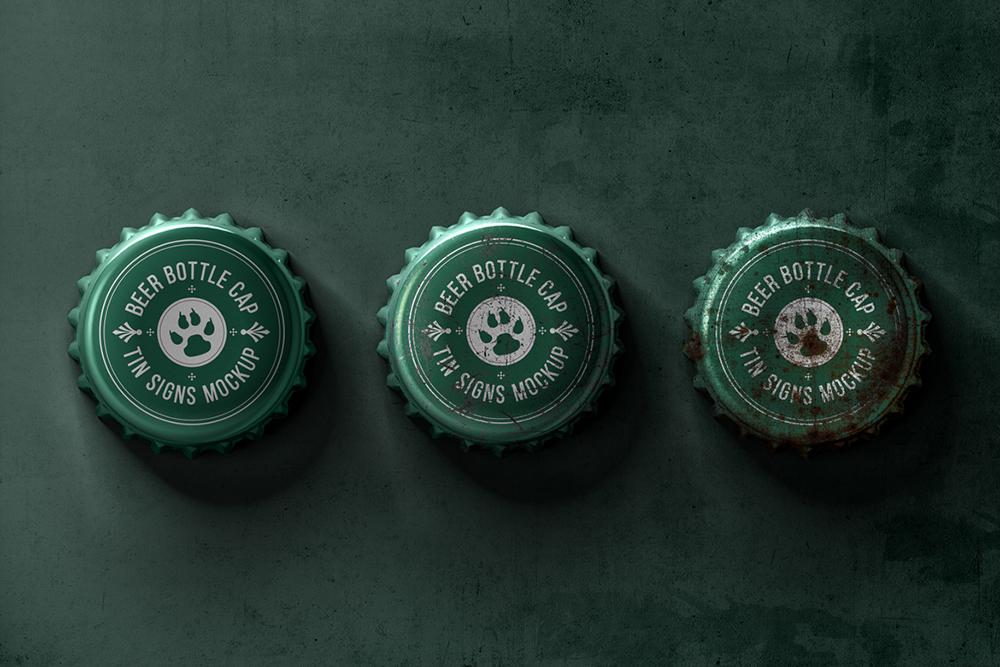 Bottle Cap Metal Tin Signs Mockup example image 3