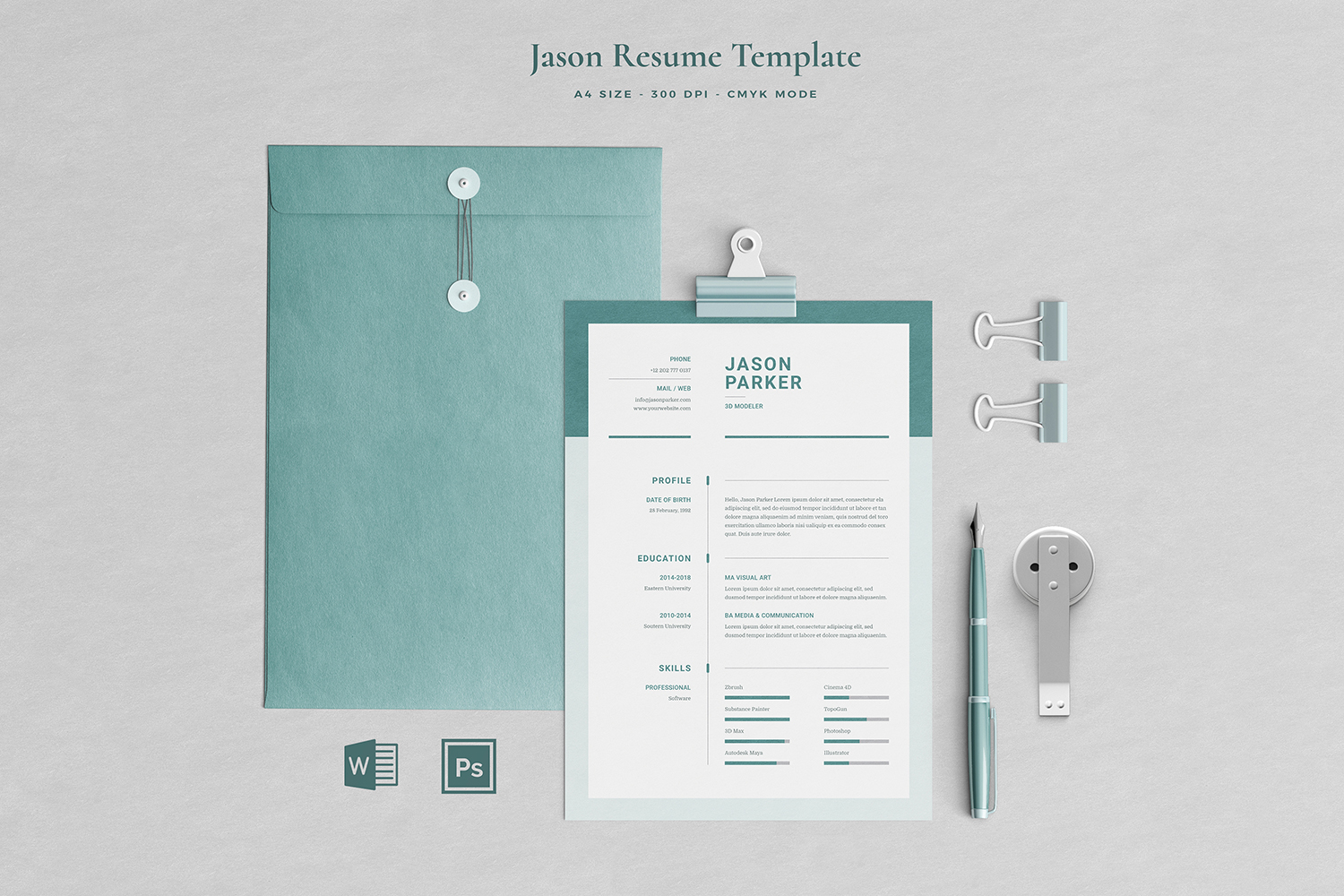 Jason Resume with Cover Letter Professional Template example image 1
