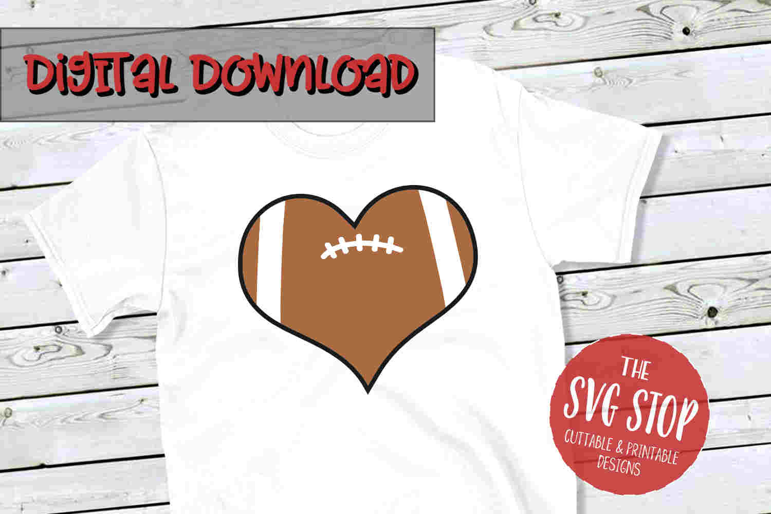 Heart Football 4 -SVG, PNG, DXF example image 1