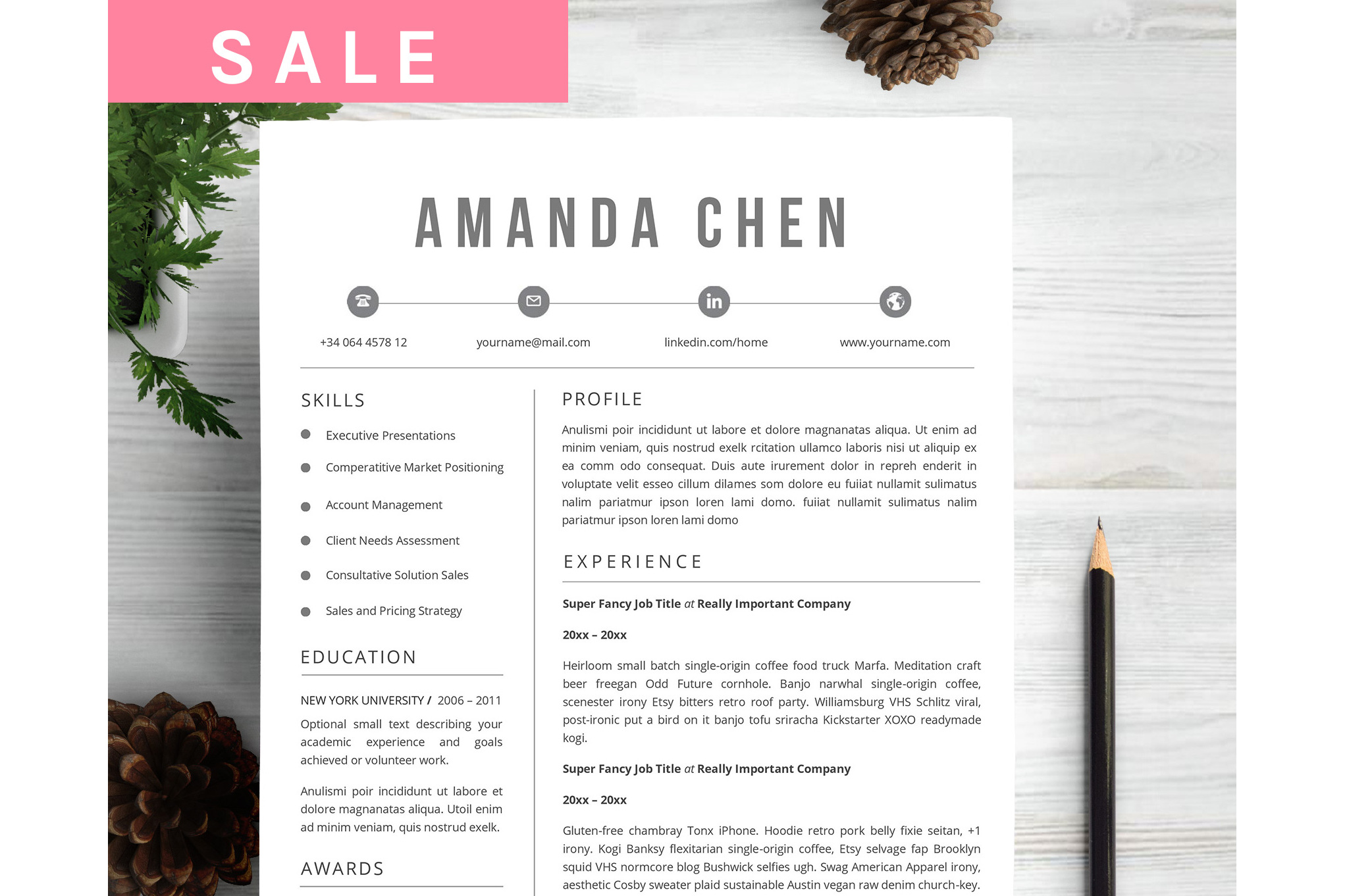 Feminim Resume Template example image 1
