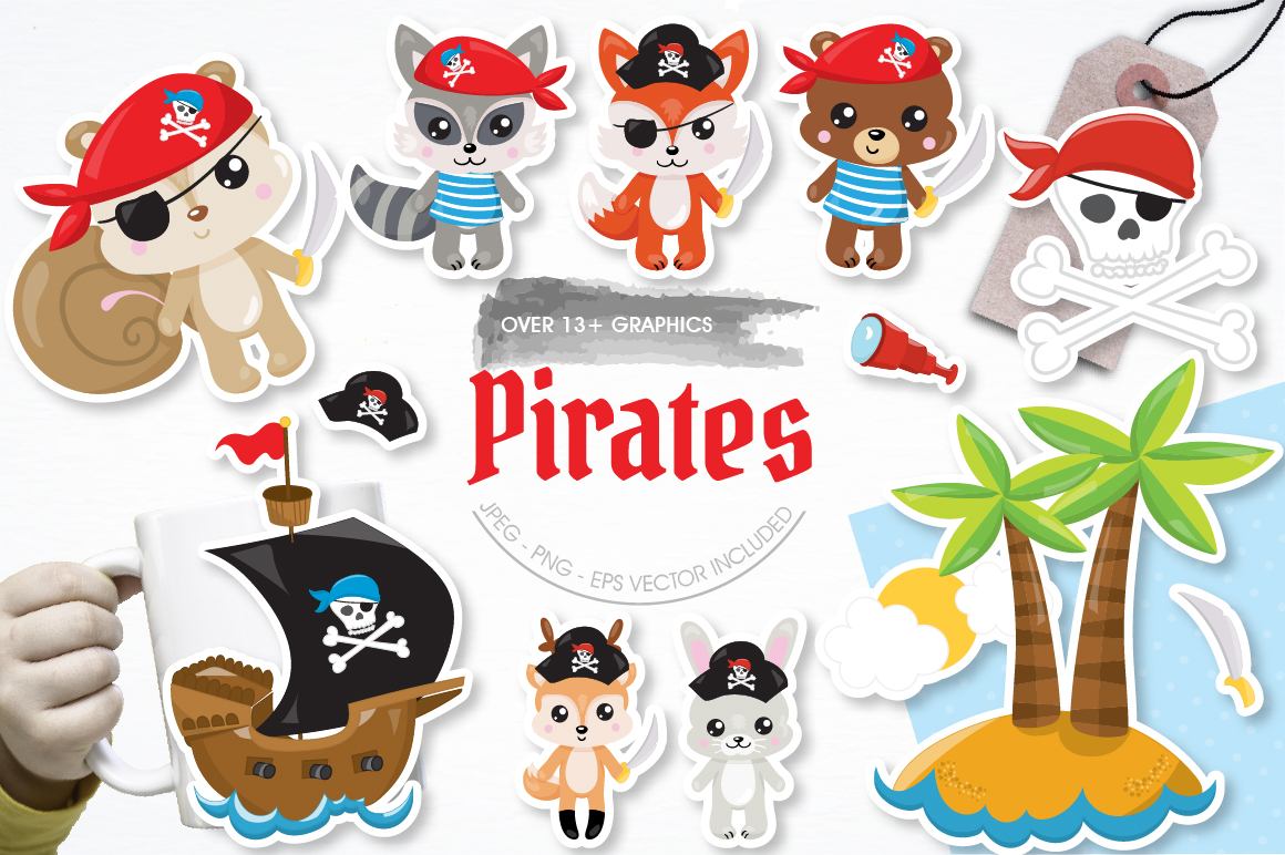 Pirates animals graphics and illustrations example image 1