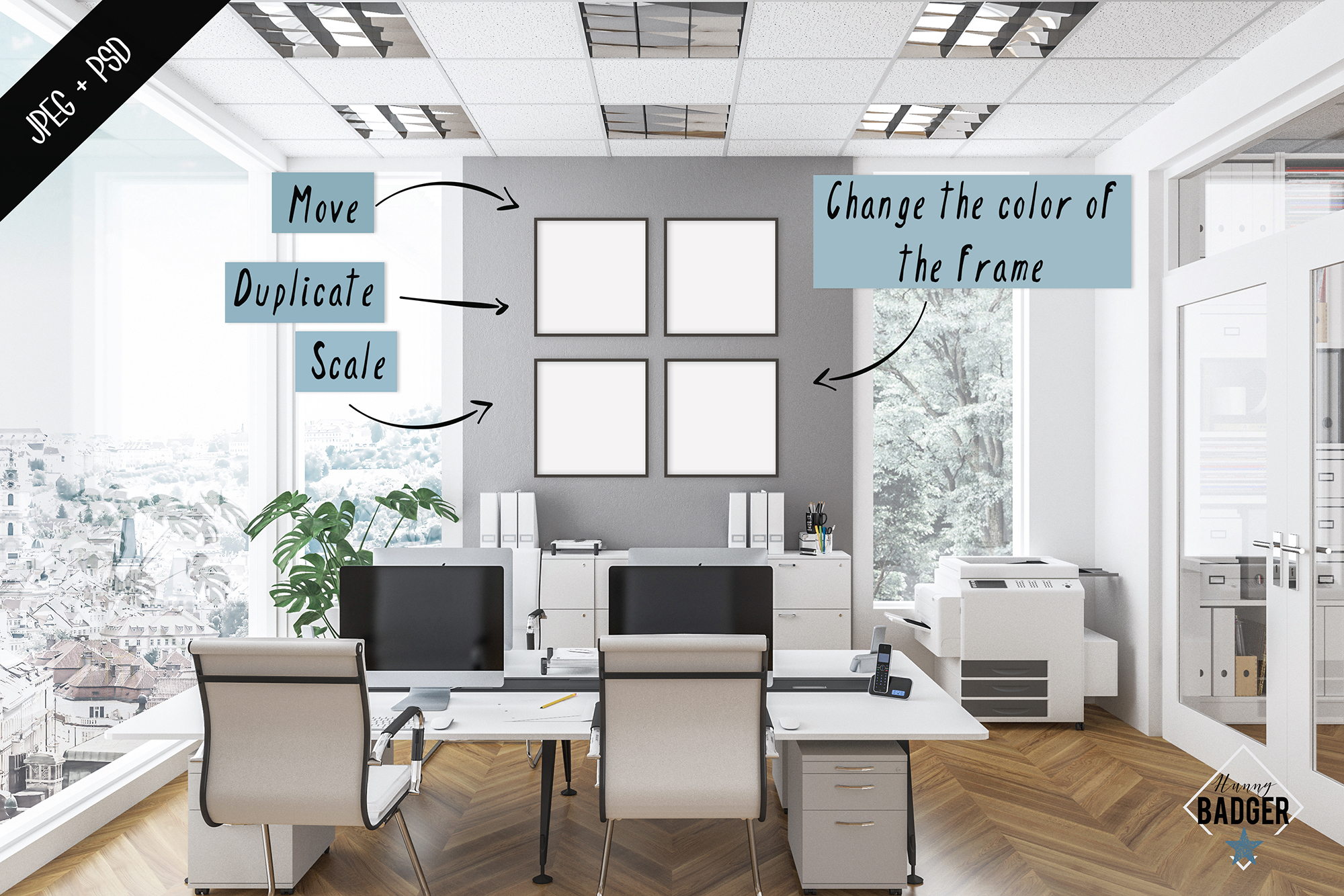 Office interior mockup - frame & wall mockup creator example image 4