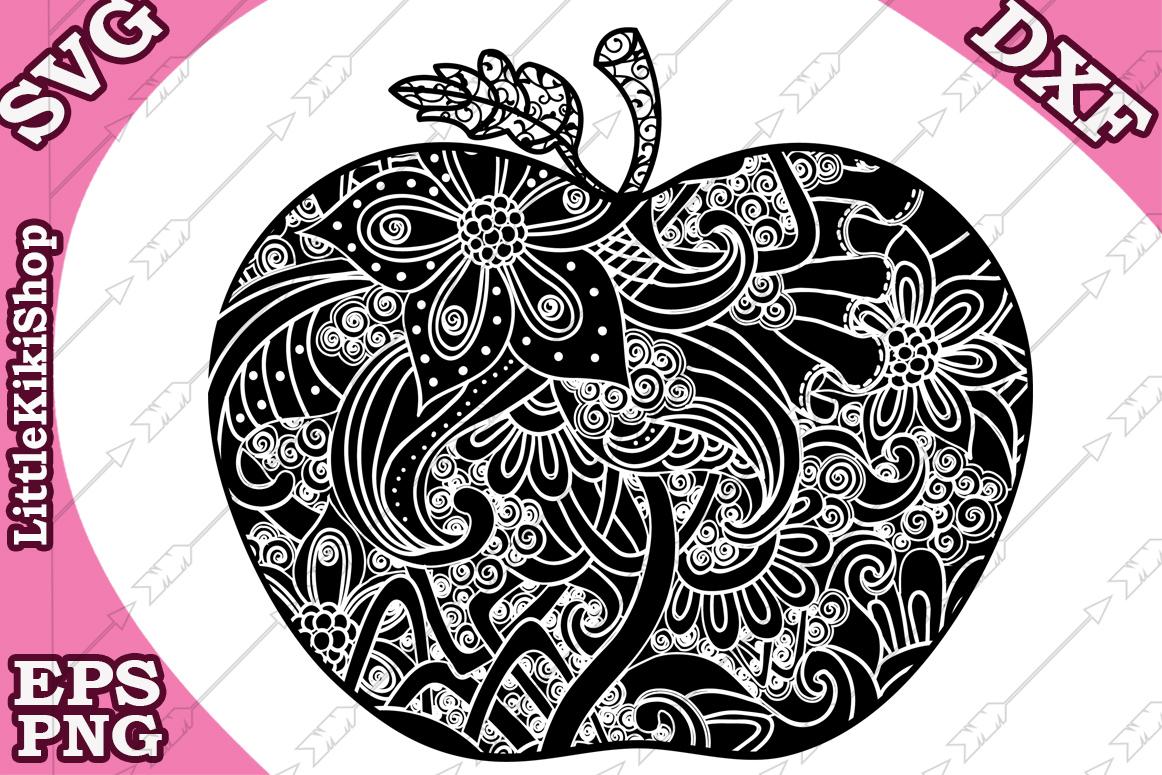 Zentangle Svg, Mandala Apple Svg, Doodle Apple Svg,Apple Svg example image 1