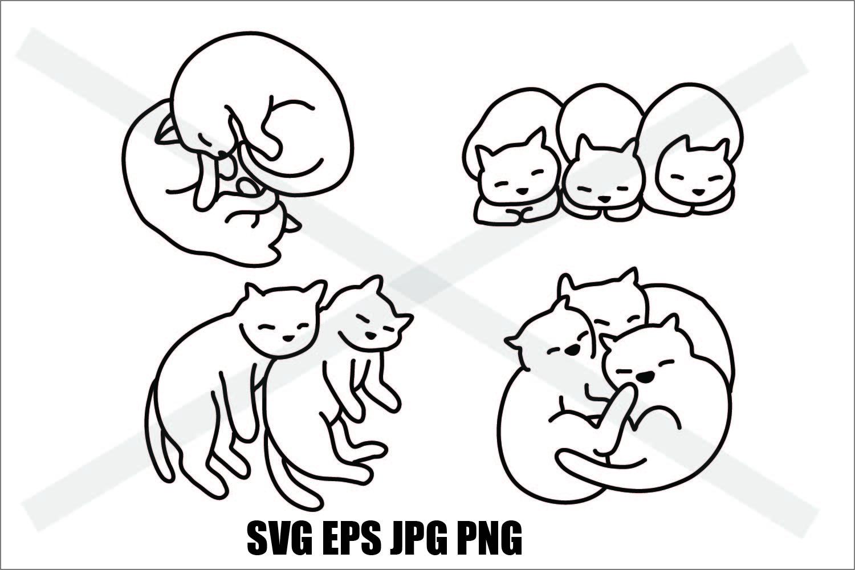Cat Sleeping Set C - SVG EPS JPG PNG example image 1