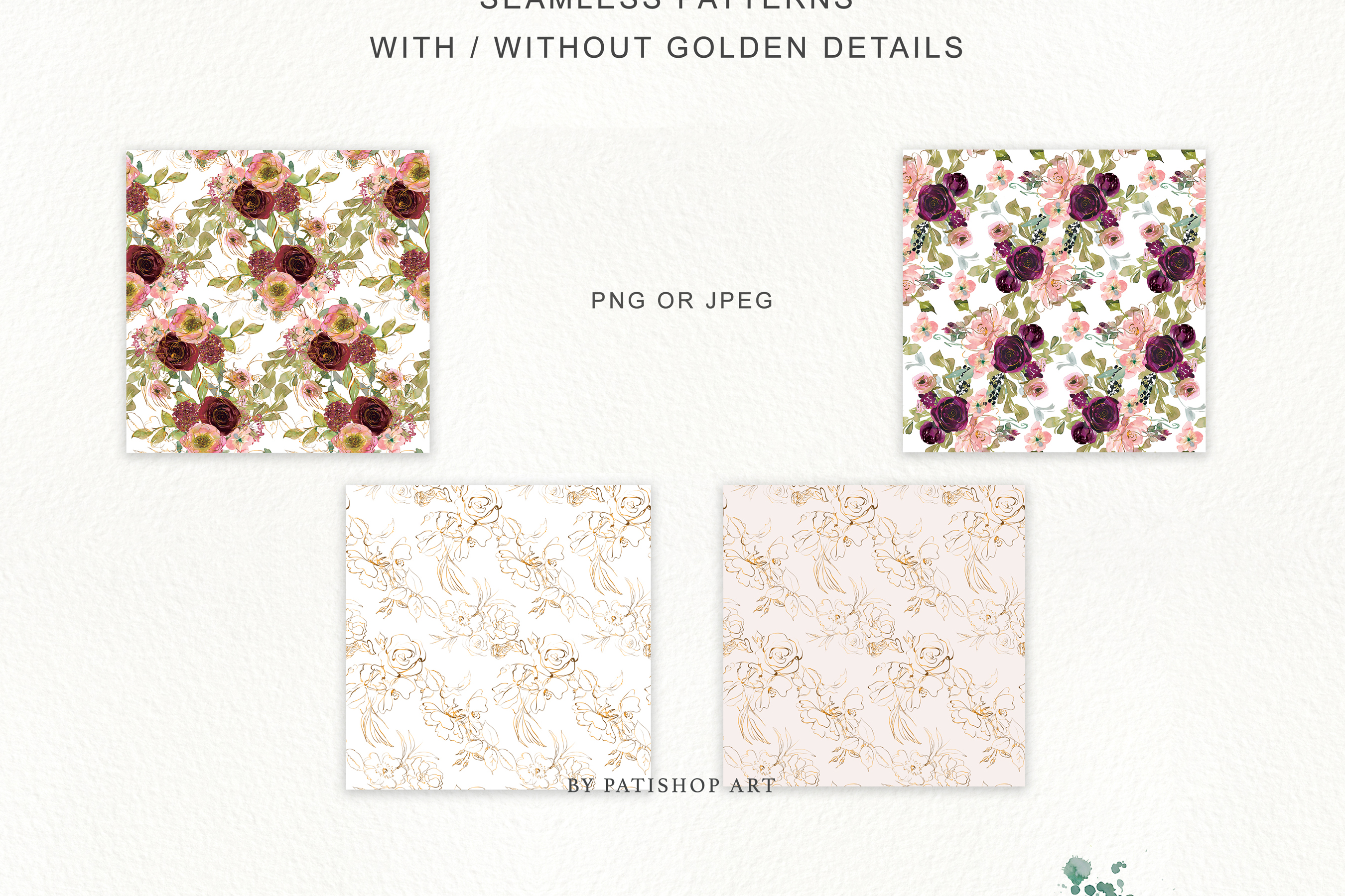 Watercolor Burgundy Blush and Gold Floral Bouquet Clipart example image 9