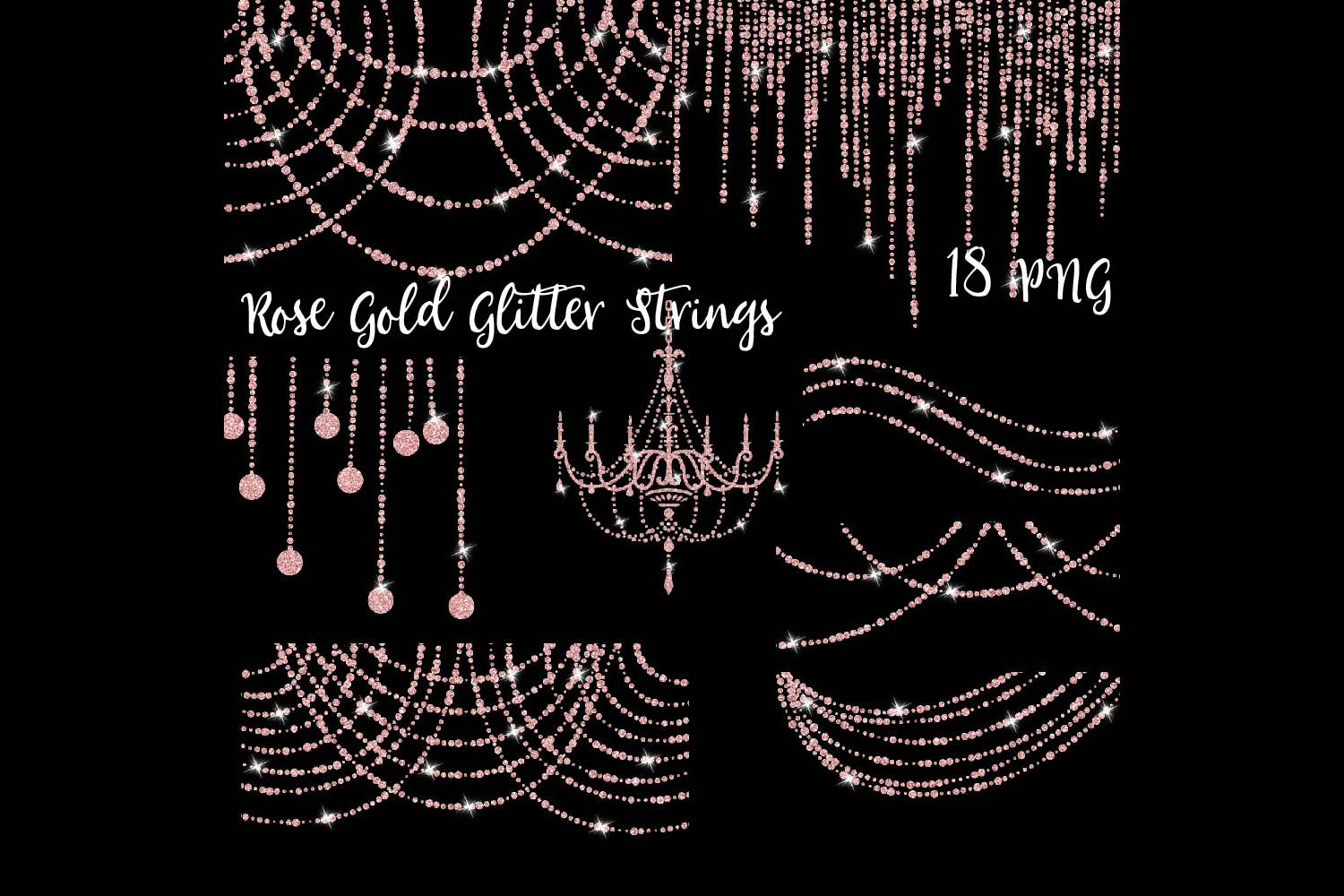 Rose Gold Glitter String Lights Clipart example image 1