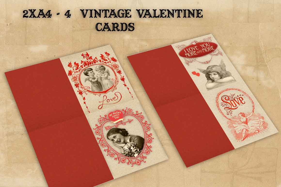 Valentine vintage 4 cards and postcards example image 2
