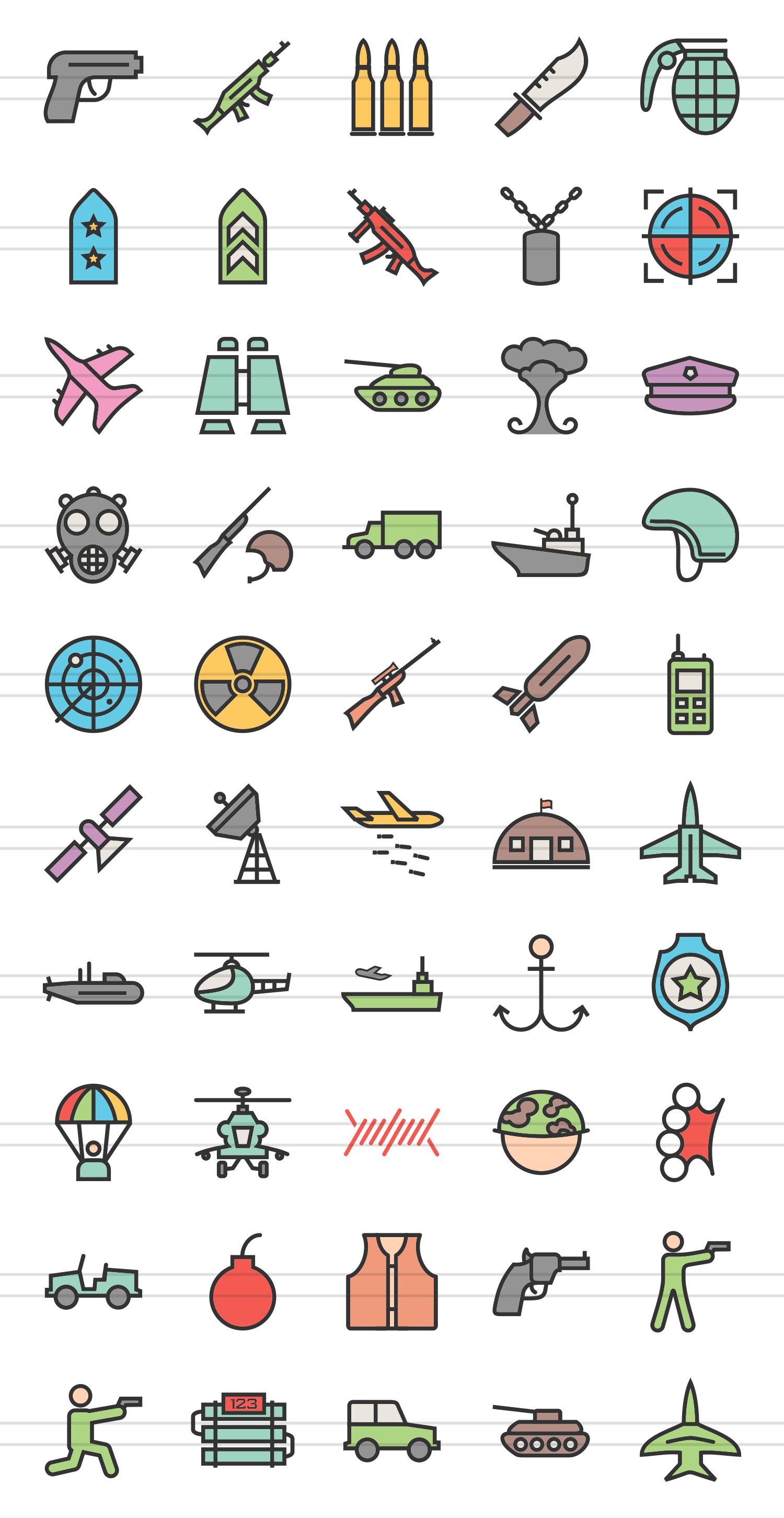 50 Military Linear Multicolor Icons example image 2